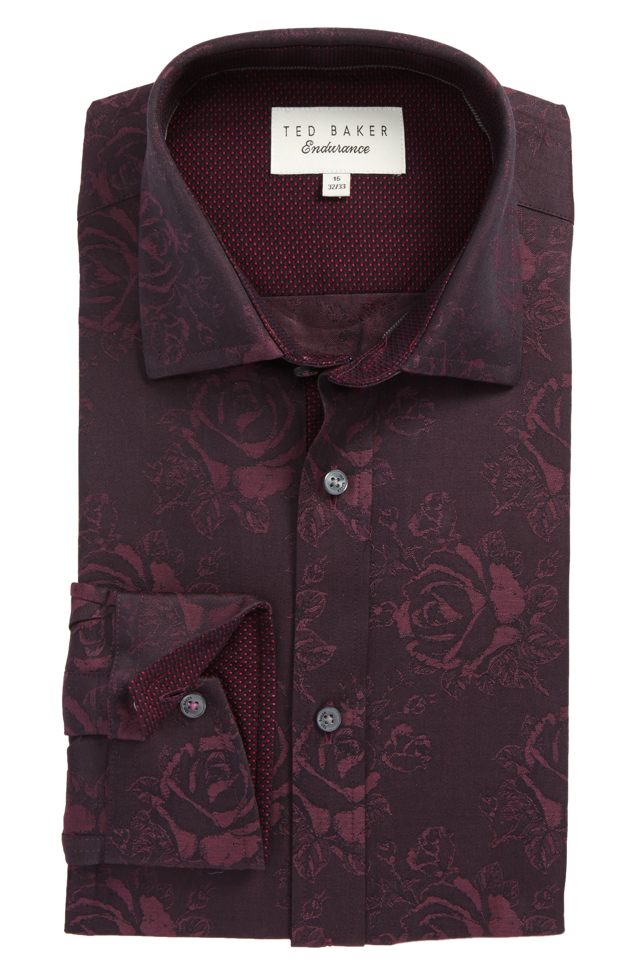 Trim Fit Floral Dress Shirt,                             Main thumbnail 1, color,                             Red