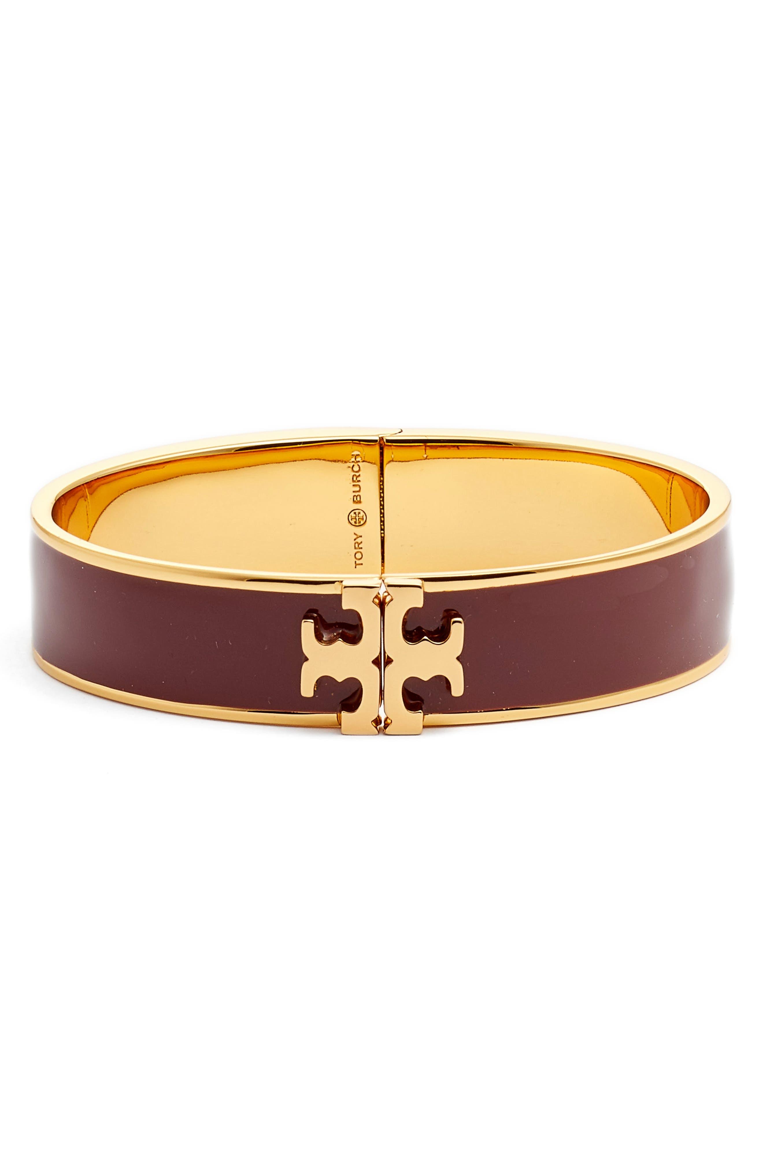 Main Image - Tory Burch Raised Logo Enamel Hinge Bracelet