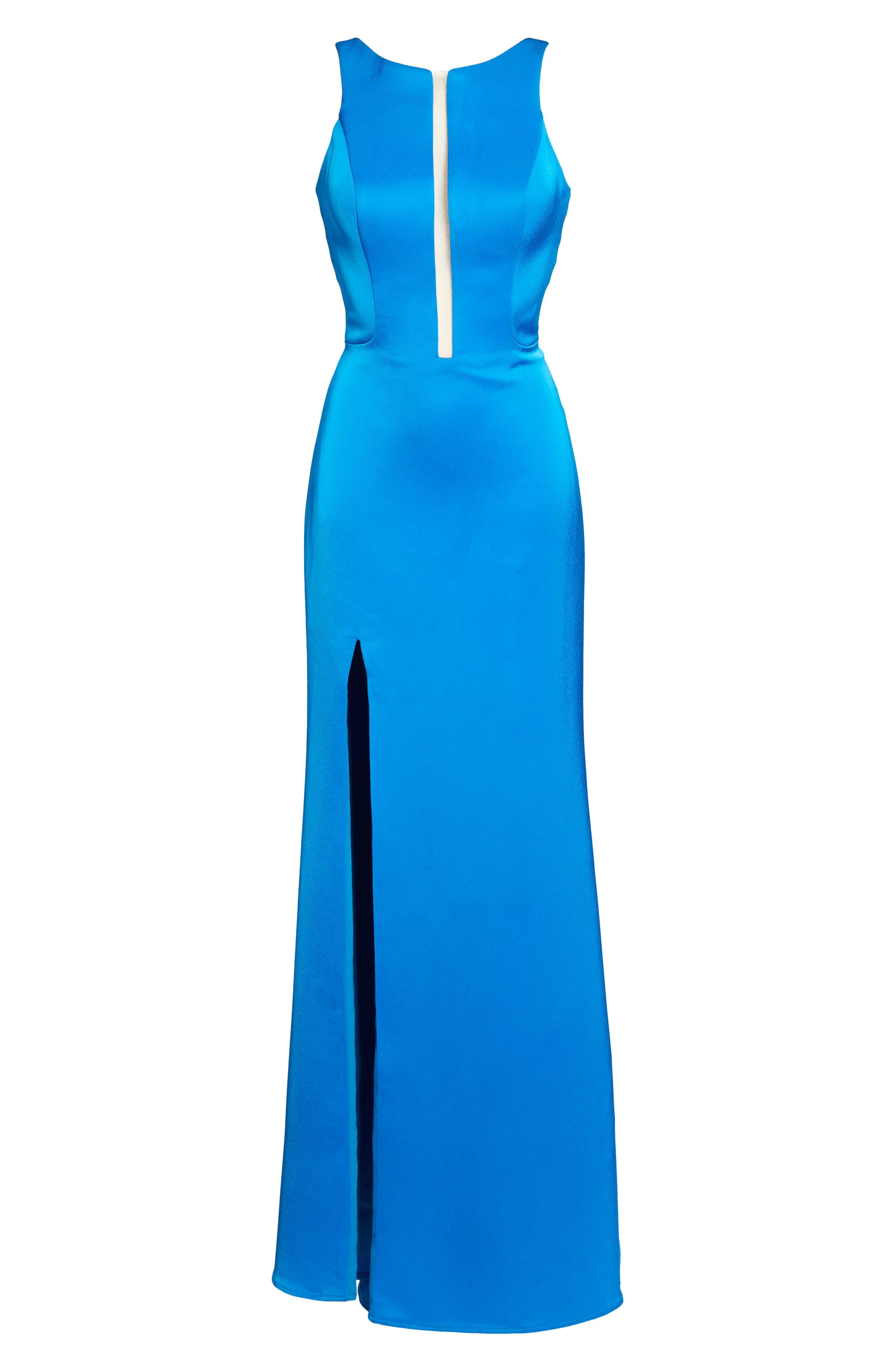 Cage Back Satin Gown,                             Alternate thumbnail 6, color,                             Ocean Blue