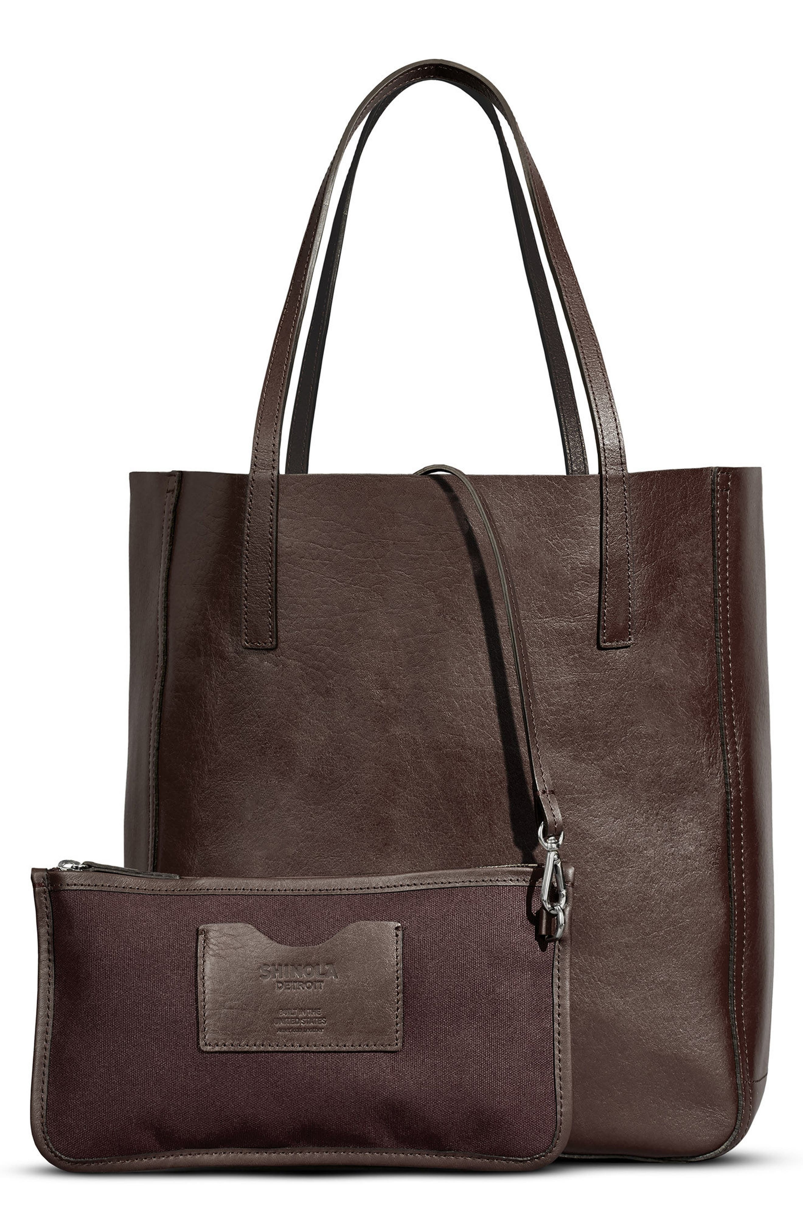 MEDIUM LEATHER SHOPPER - BROWN