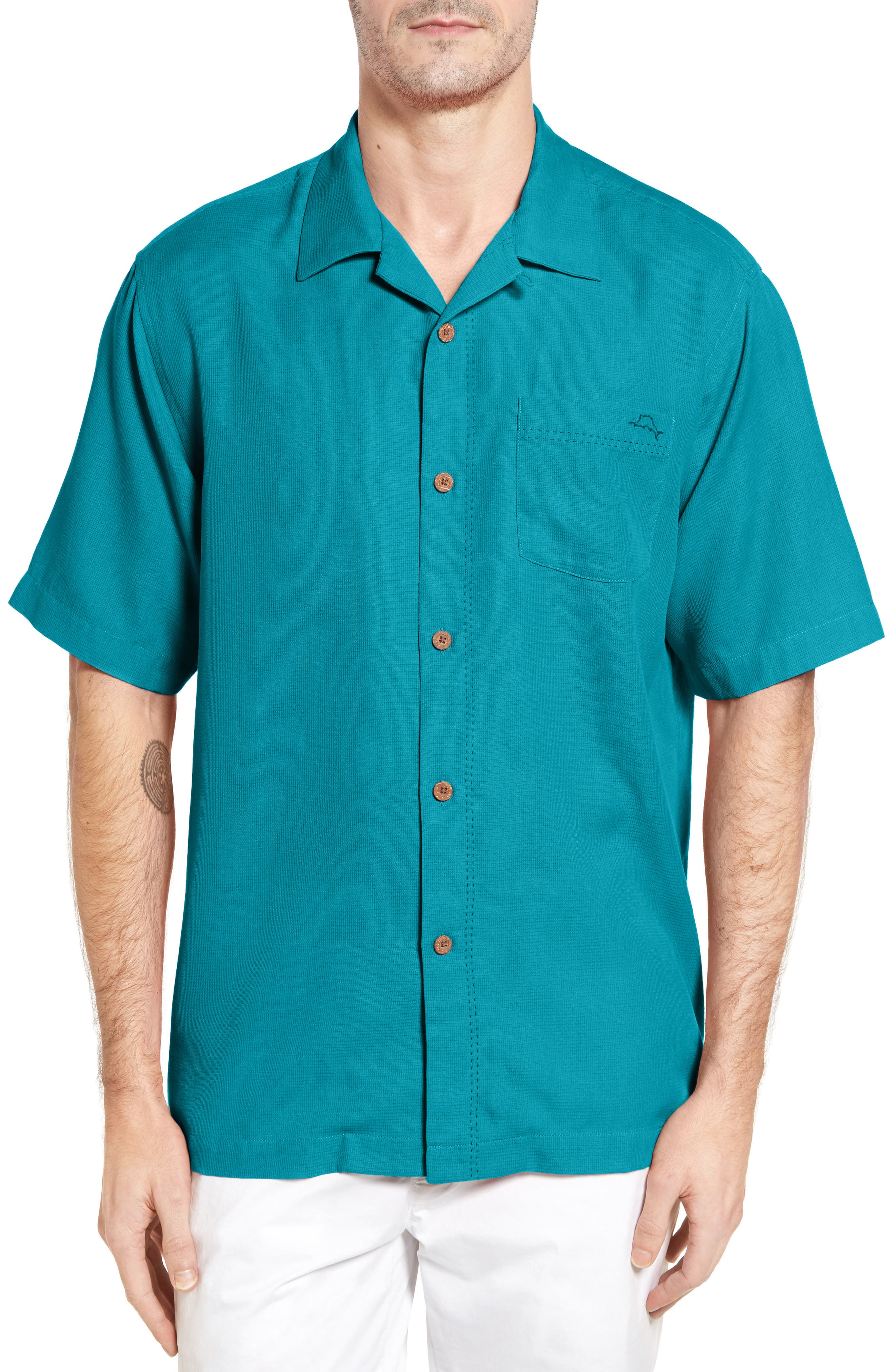 Royal Bermuda Standard Fit Silk Blend Camp Shirt,                             Main thumbnail 1, color,                             Riviera Azure