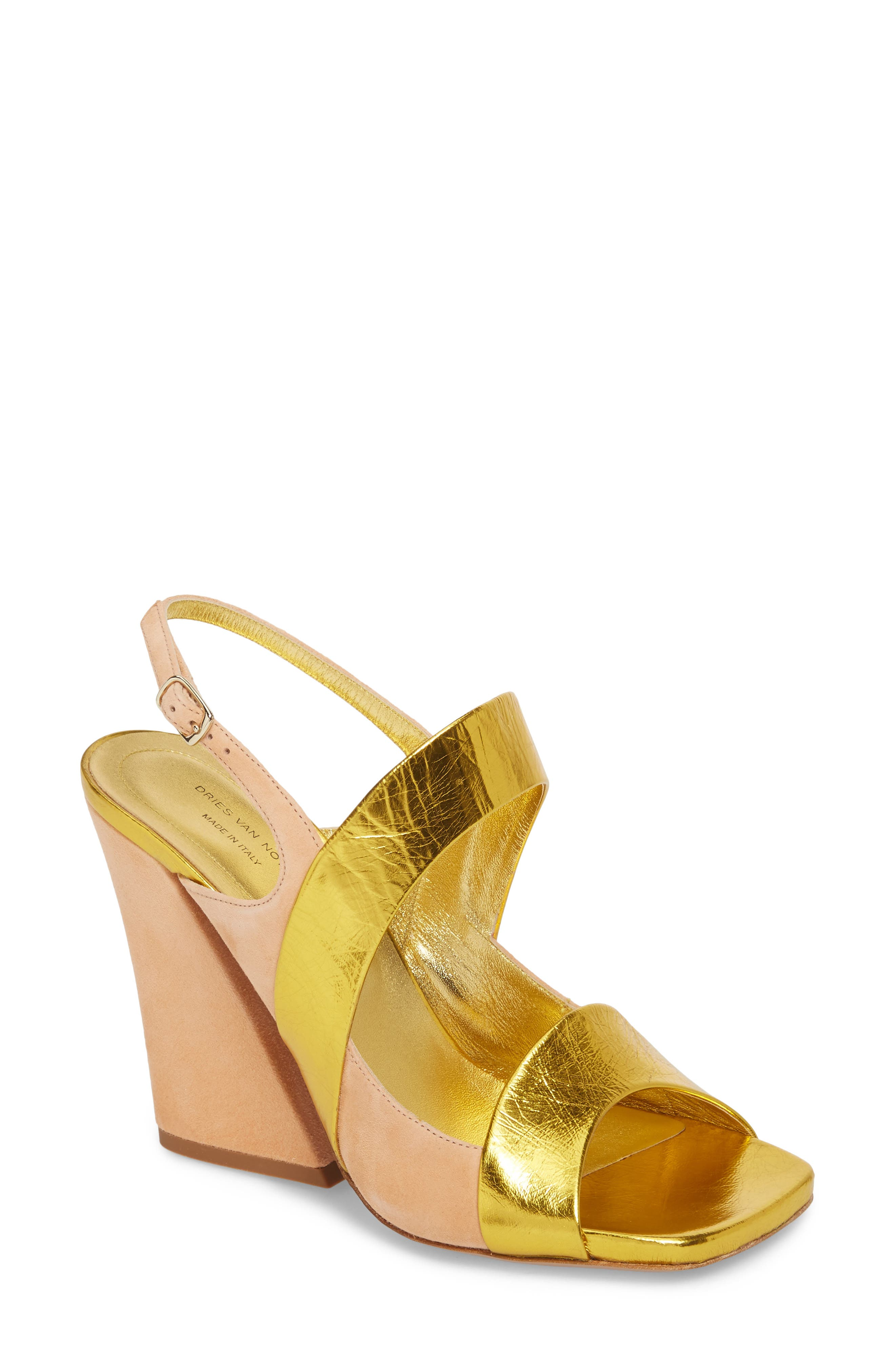 Block Heel Sandal,                             Main thumbnail 1, color,                             Gold