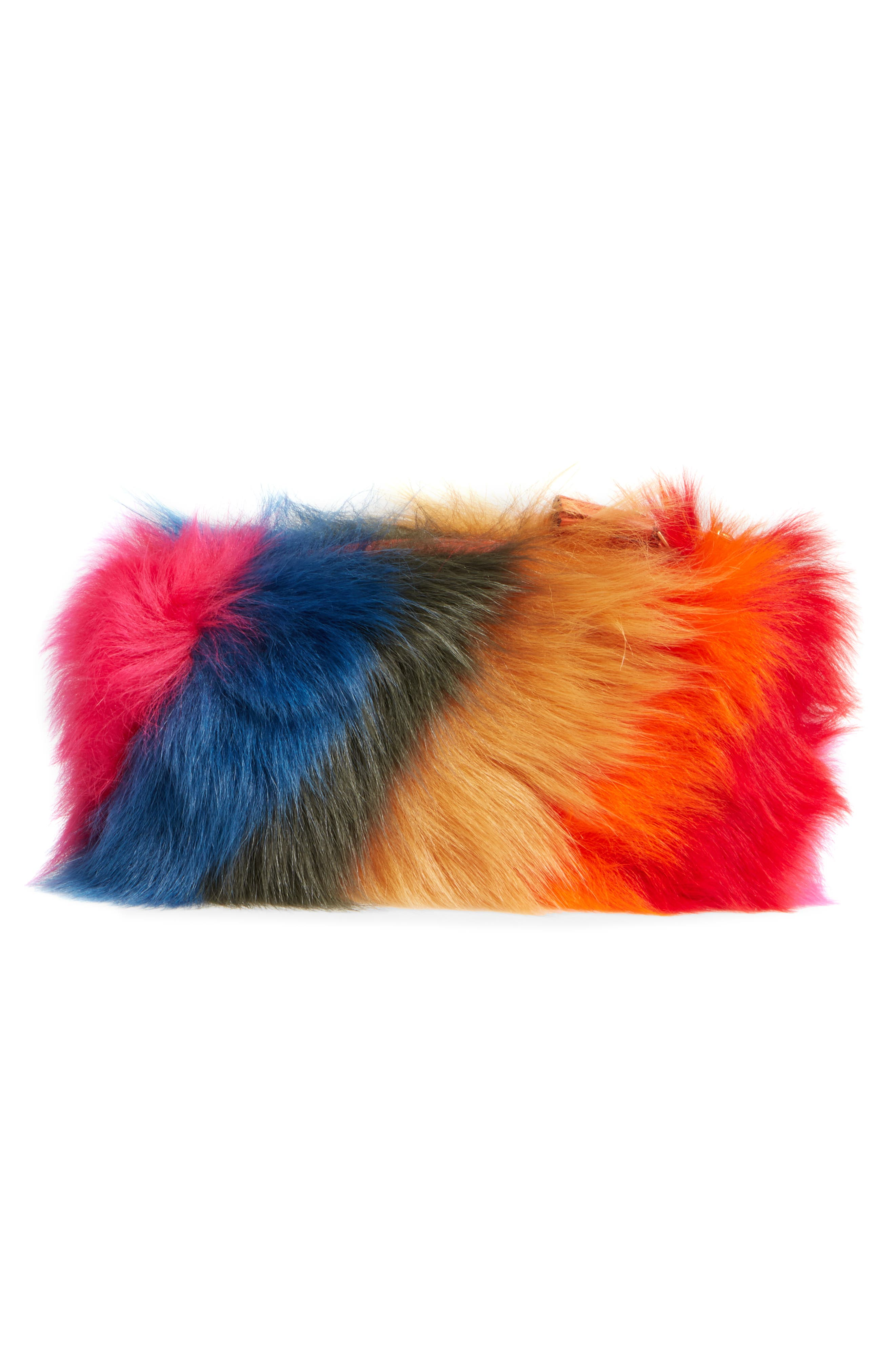Creeper Genuine Shearling Clutch,                             Alternate thumbnail 3, color,                             Multi