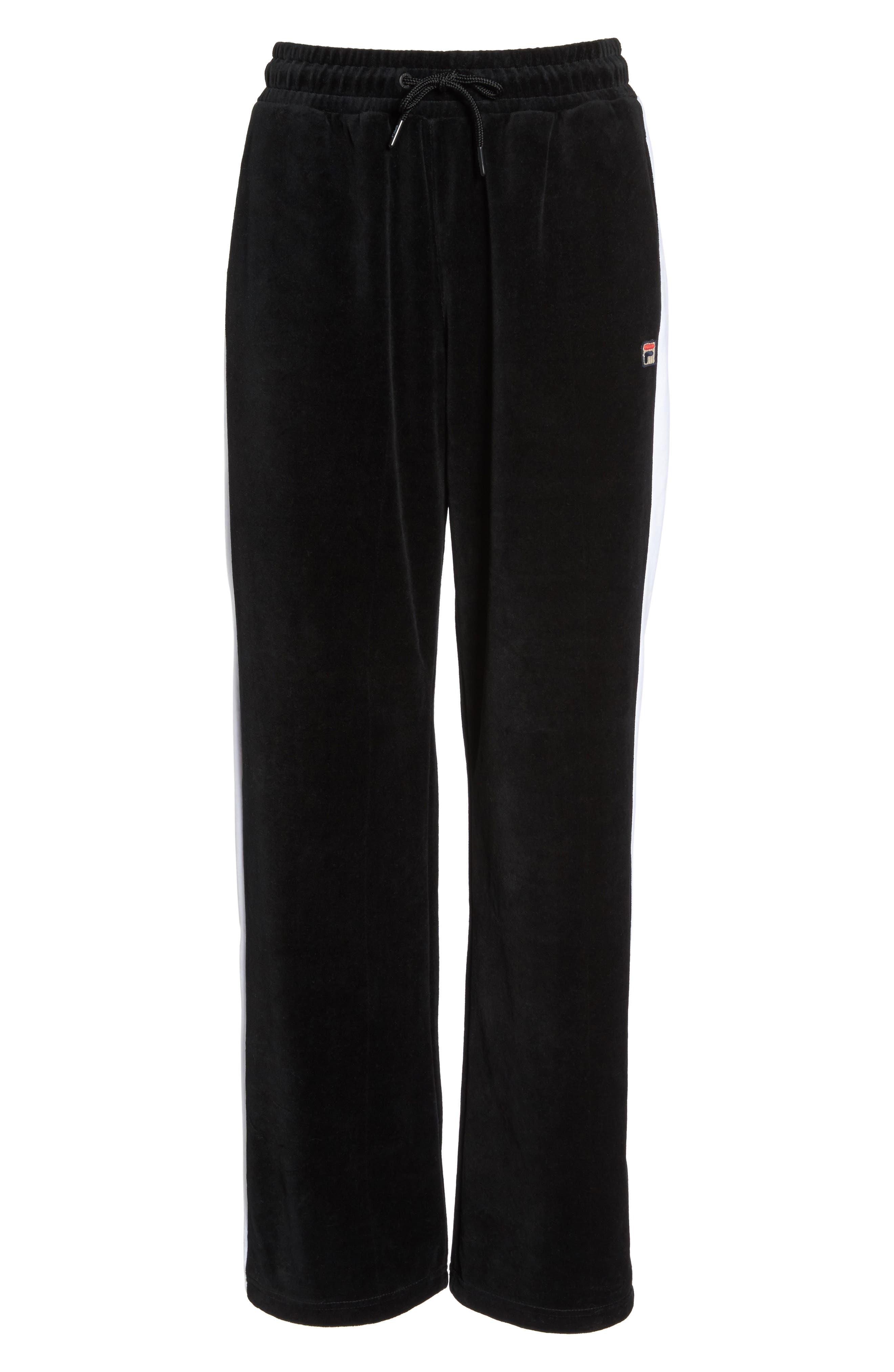 Bonnie Velour Track Pants,                             Alternate thumbnail 7, color,                             Black/ White