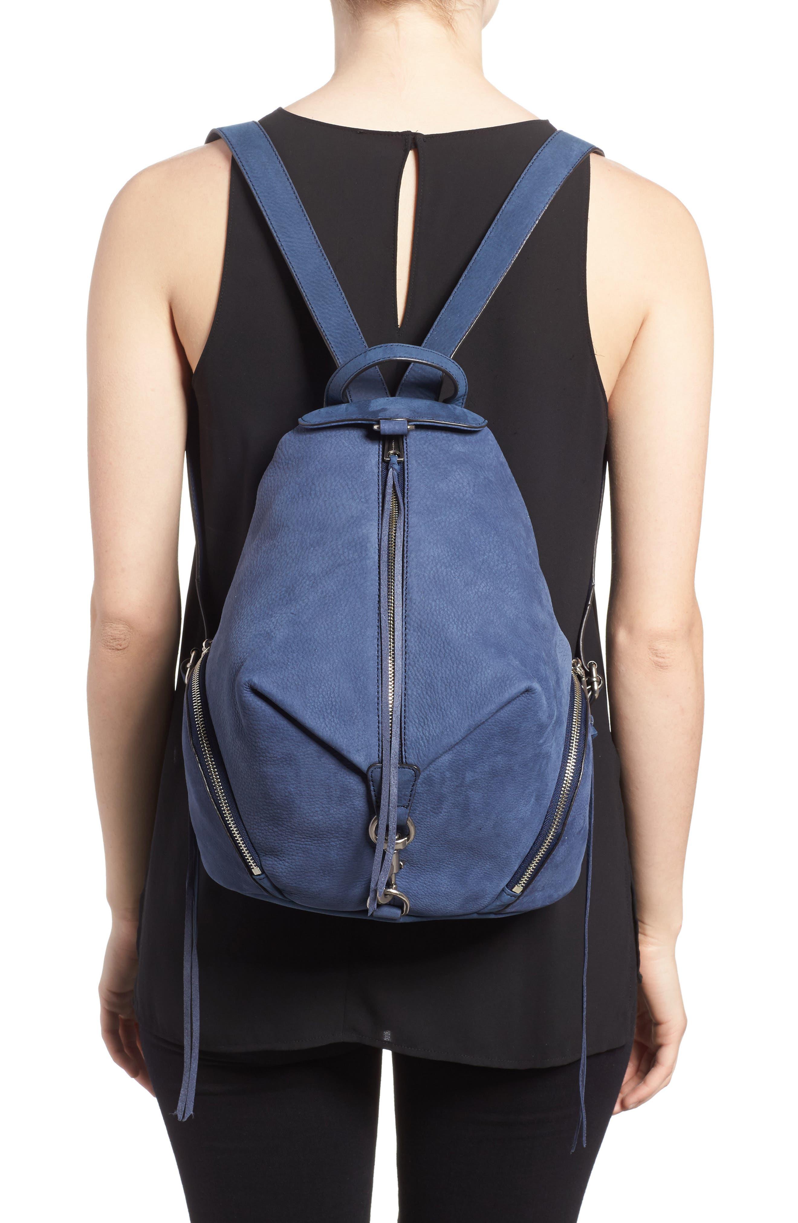 Julian Convertible Nubuck Leather Backpack,                             Alternate thumbnail 2, color,                             True Navy