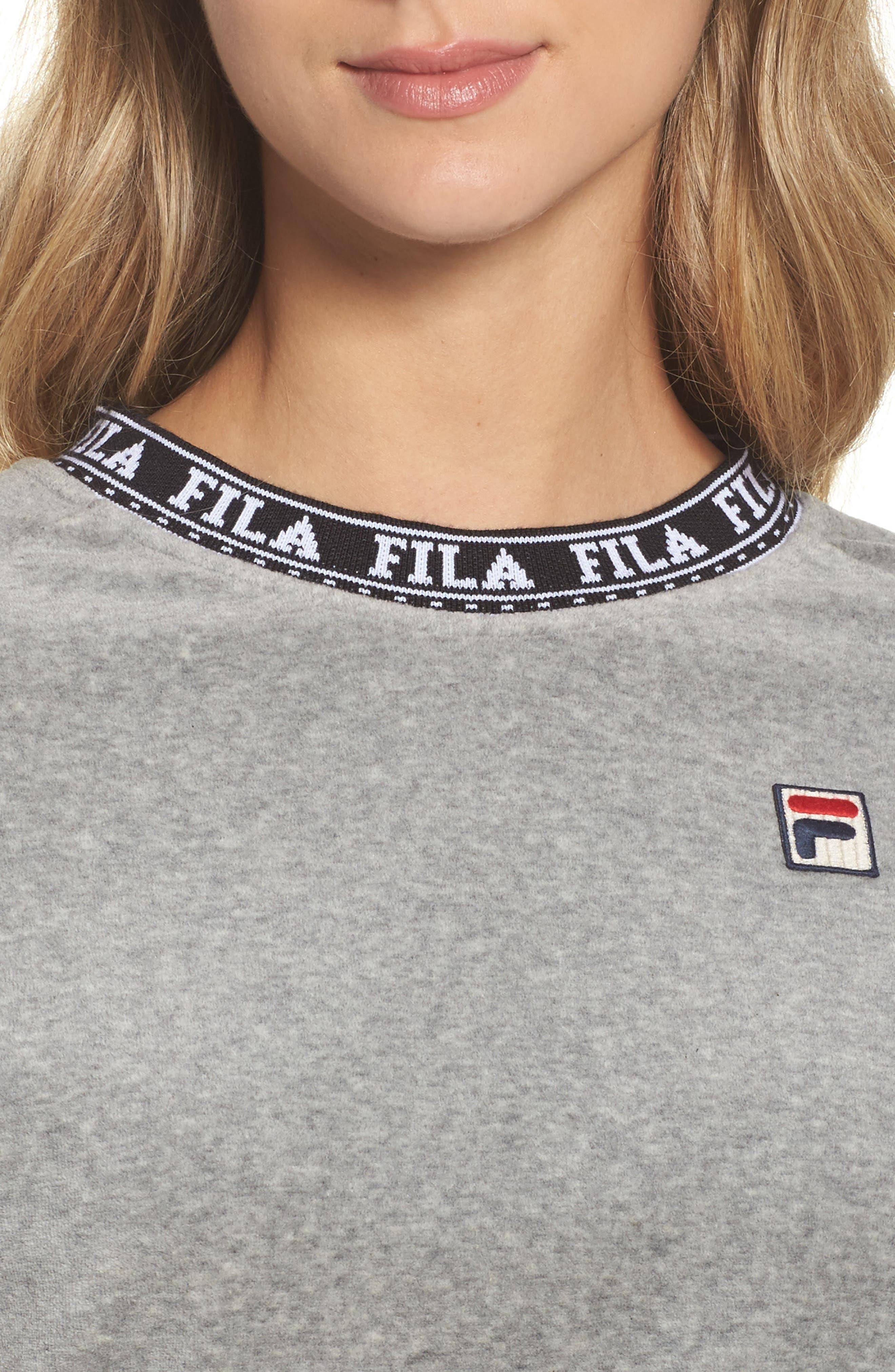 Dina Velour Crop Sweatshirt,                             Alternate thumbnail 4, color,                             Grey Heather/ Black/ White