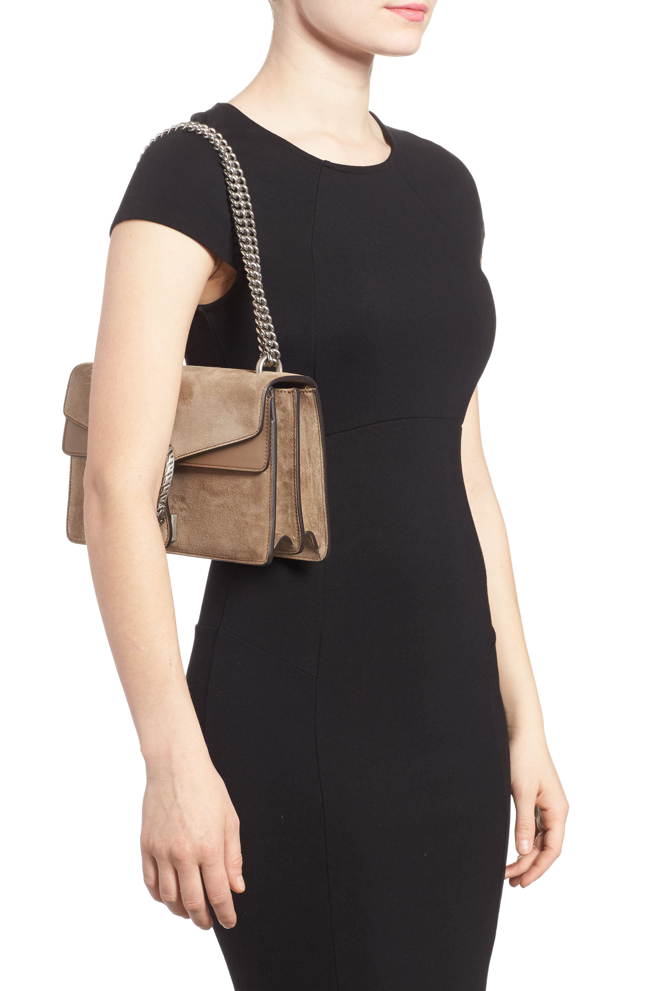 Small Dionysus Suede Shoulder Bag,                             Alternate thumbnail 2, color,                             Taupe