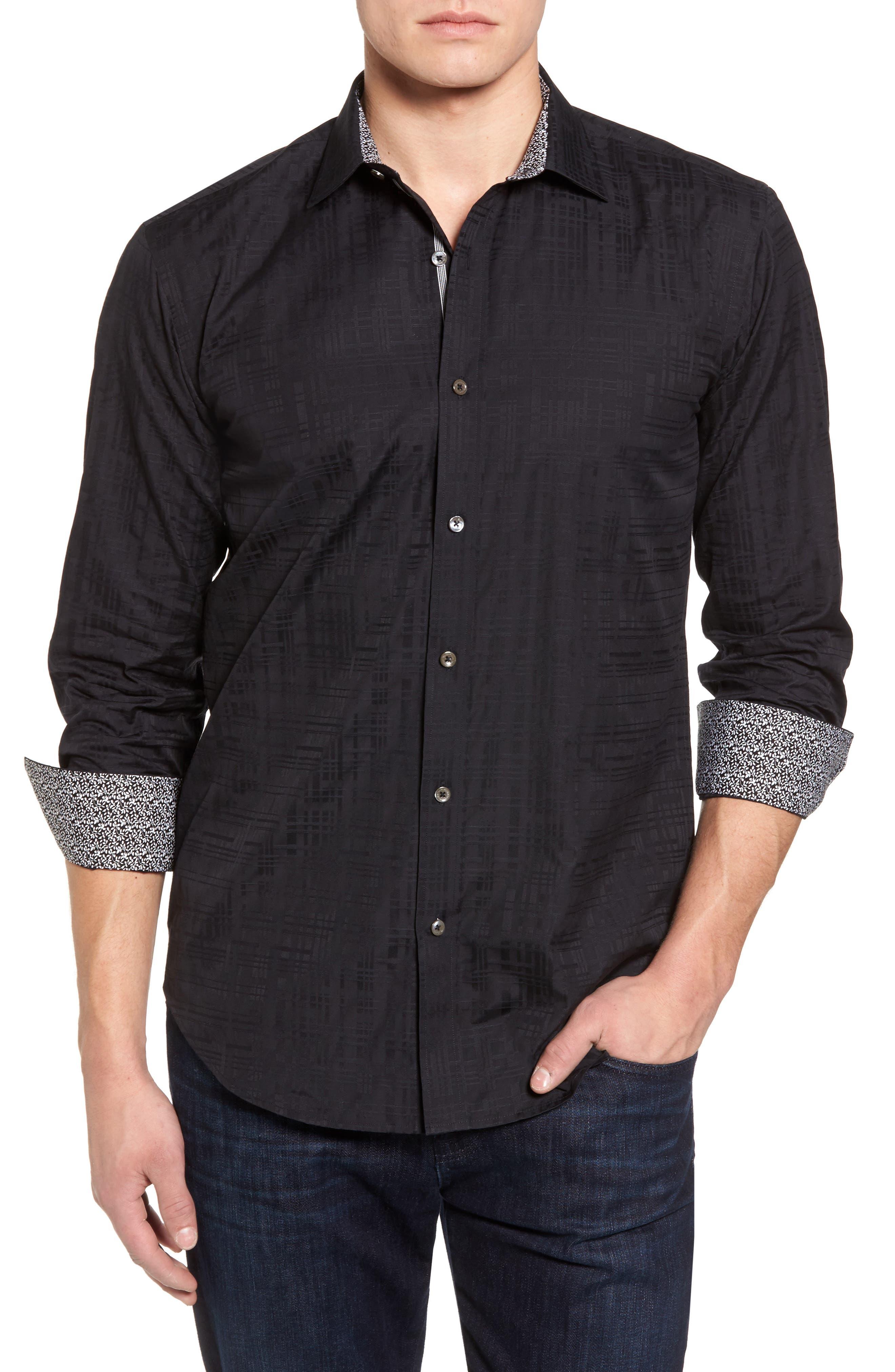 Shaped Fit Tonal Print Sport Shirt,                         Main,                         color, Black