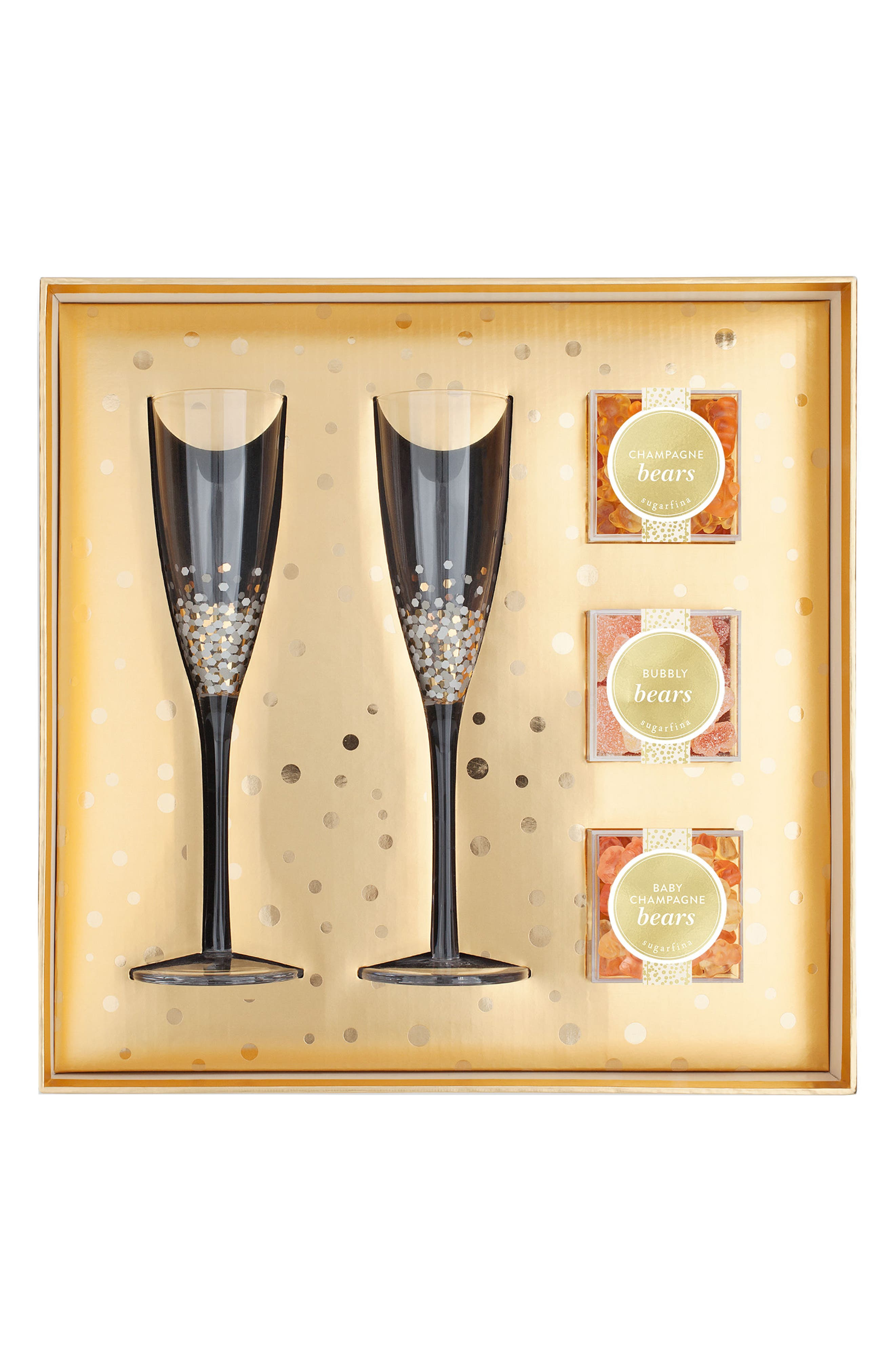 Pop The Champagne Candy Gift Set,                             Main thumbnail 1, color,                             Metallic Gold
