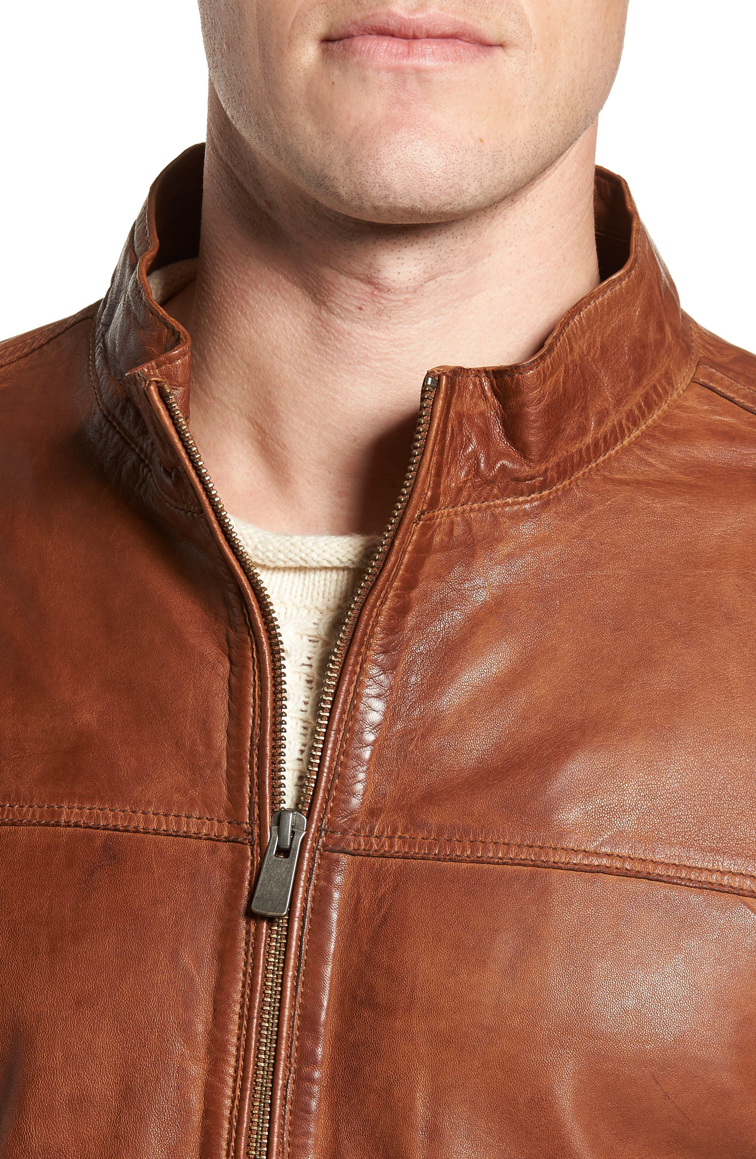 Zip Leather Jacket,                             Alternate thumbnail 4, color,                             Cognac