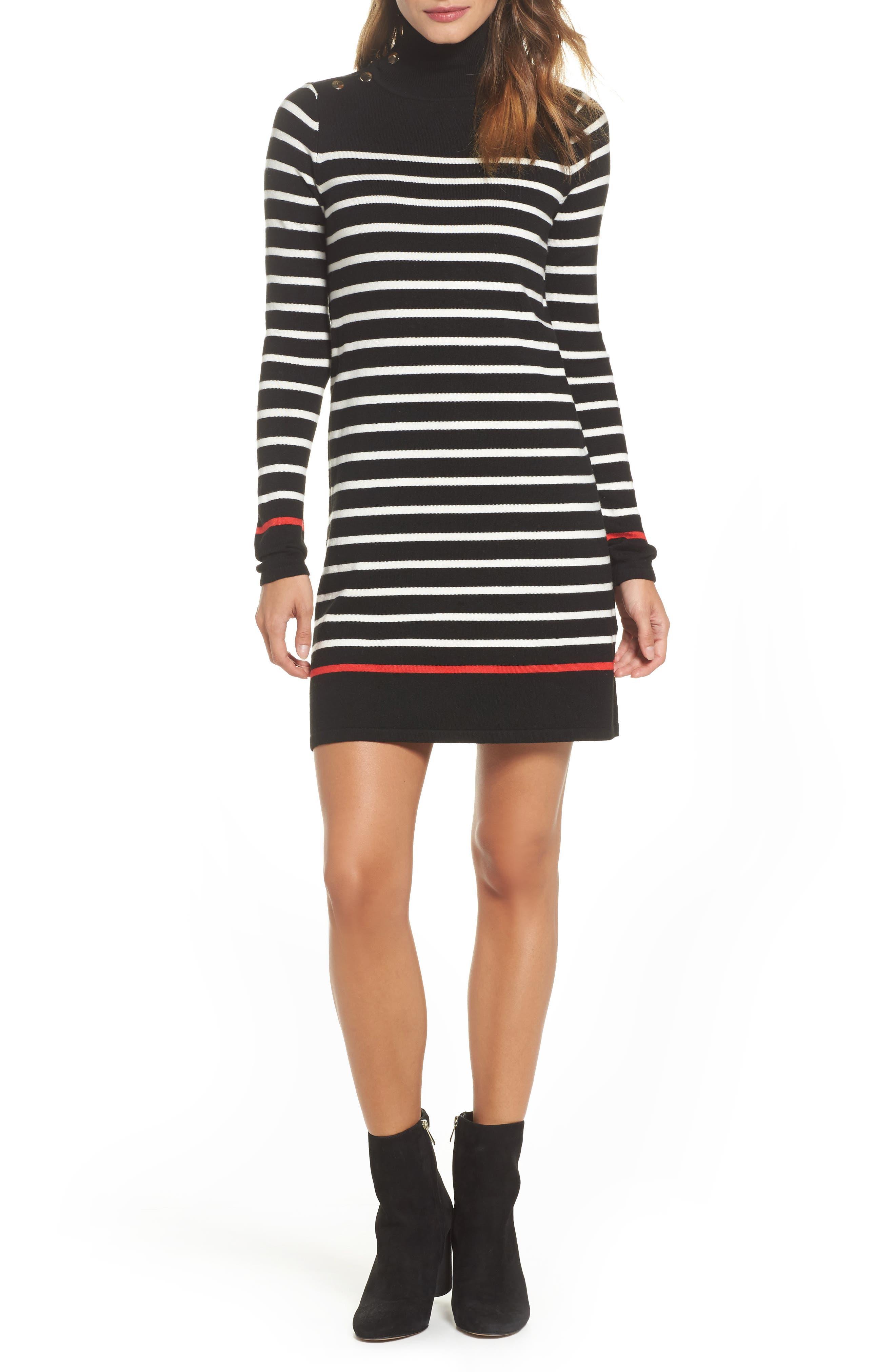 Main Image - Eliza J Mockneck Stripe Shift Dress