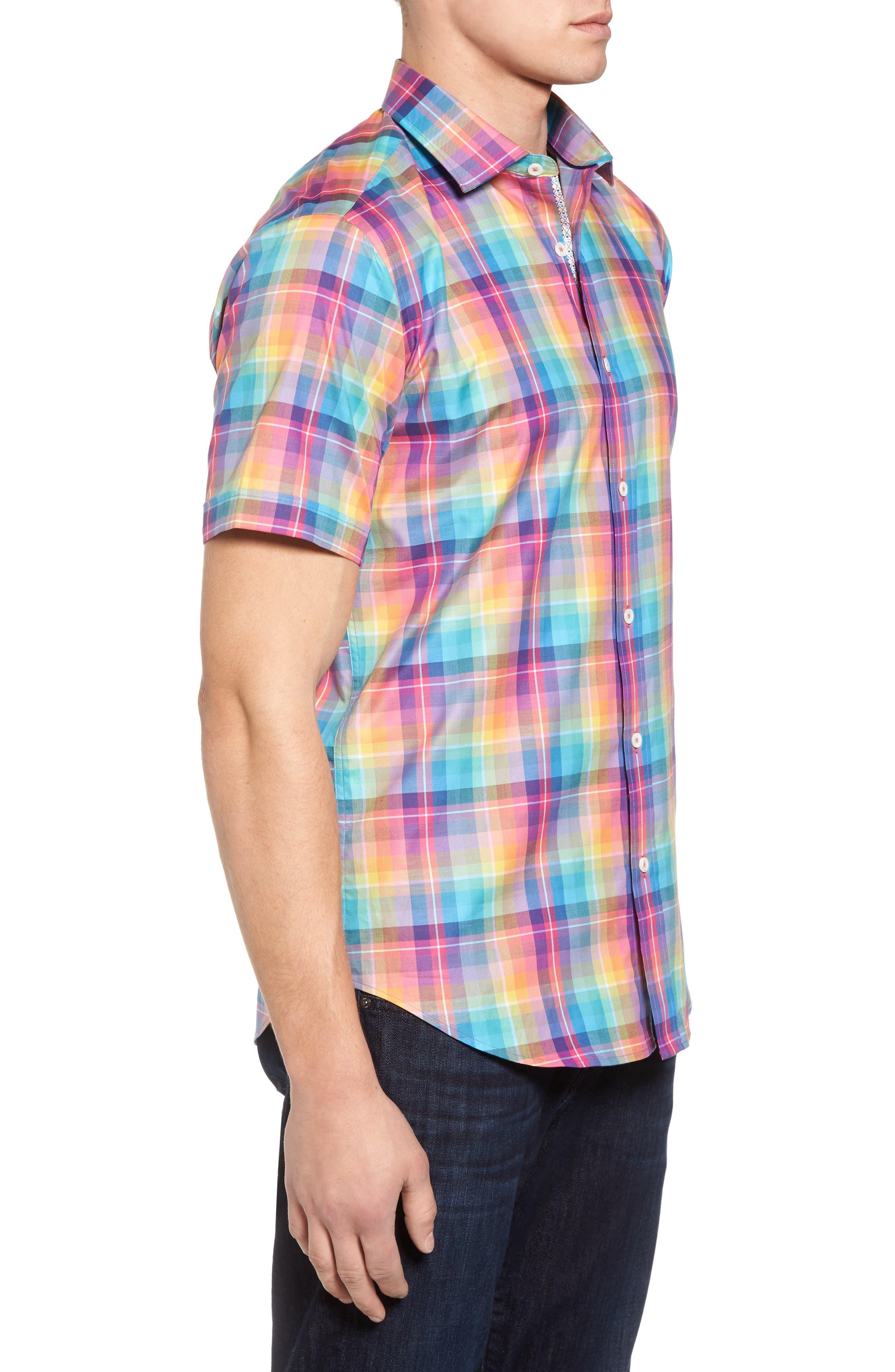 Shaped Fit Plaid Sport Shirt,                             Alternate thumbnail 3, color,                             Paradise