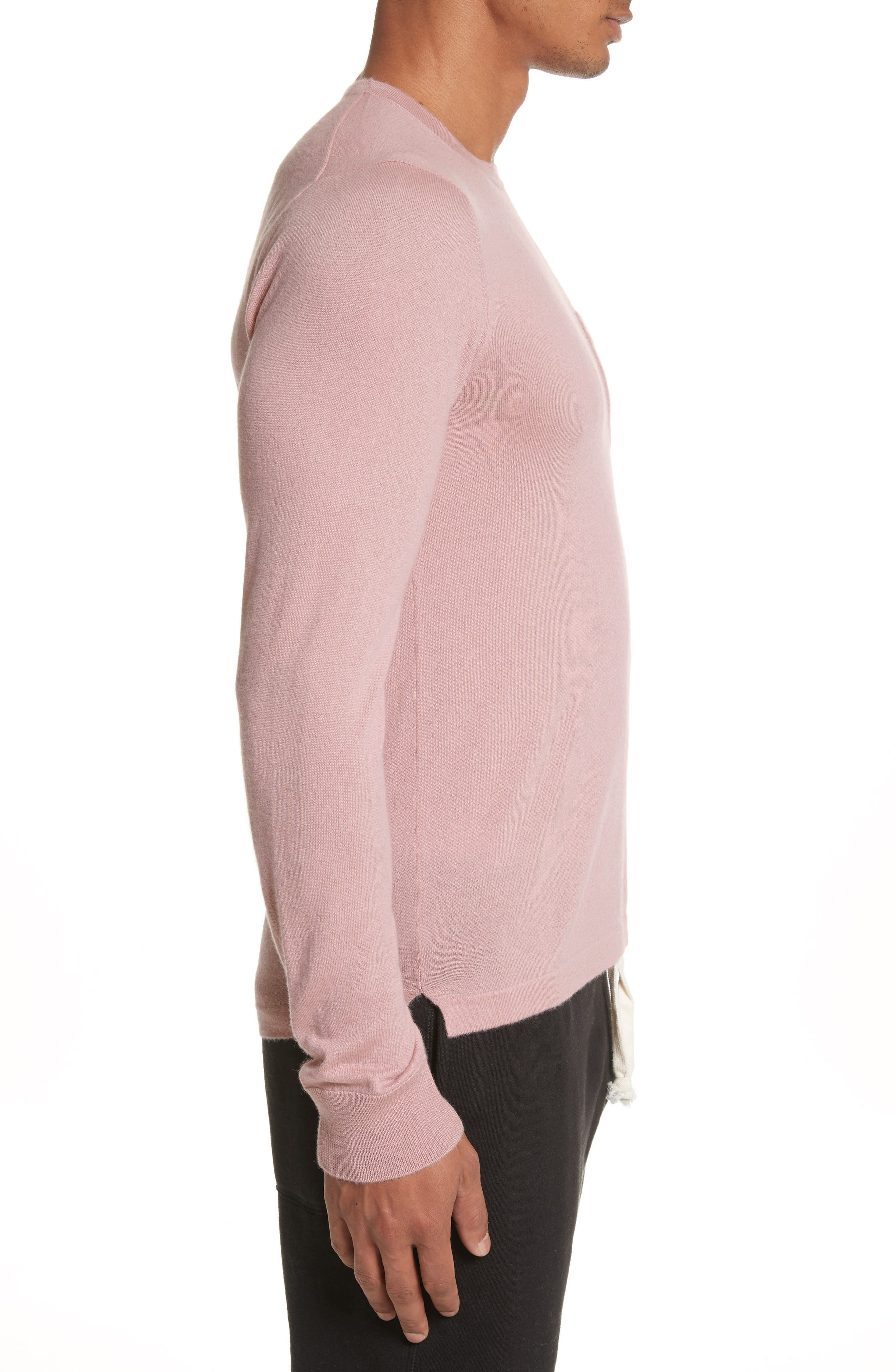 Cashmere Long Sleeve T-Shirt,                             Alternate thumbnail 3, color,                             Pink