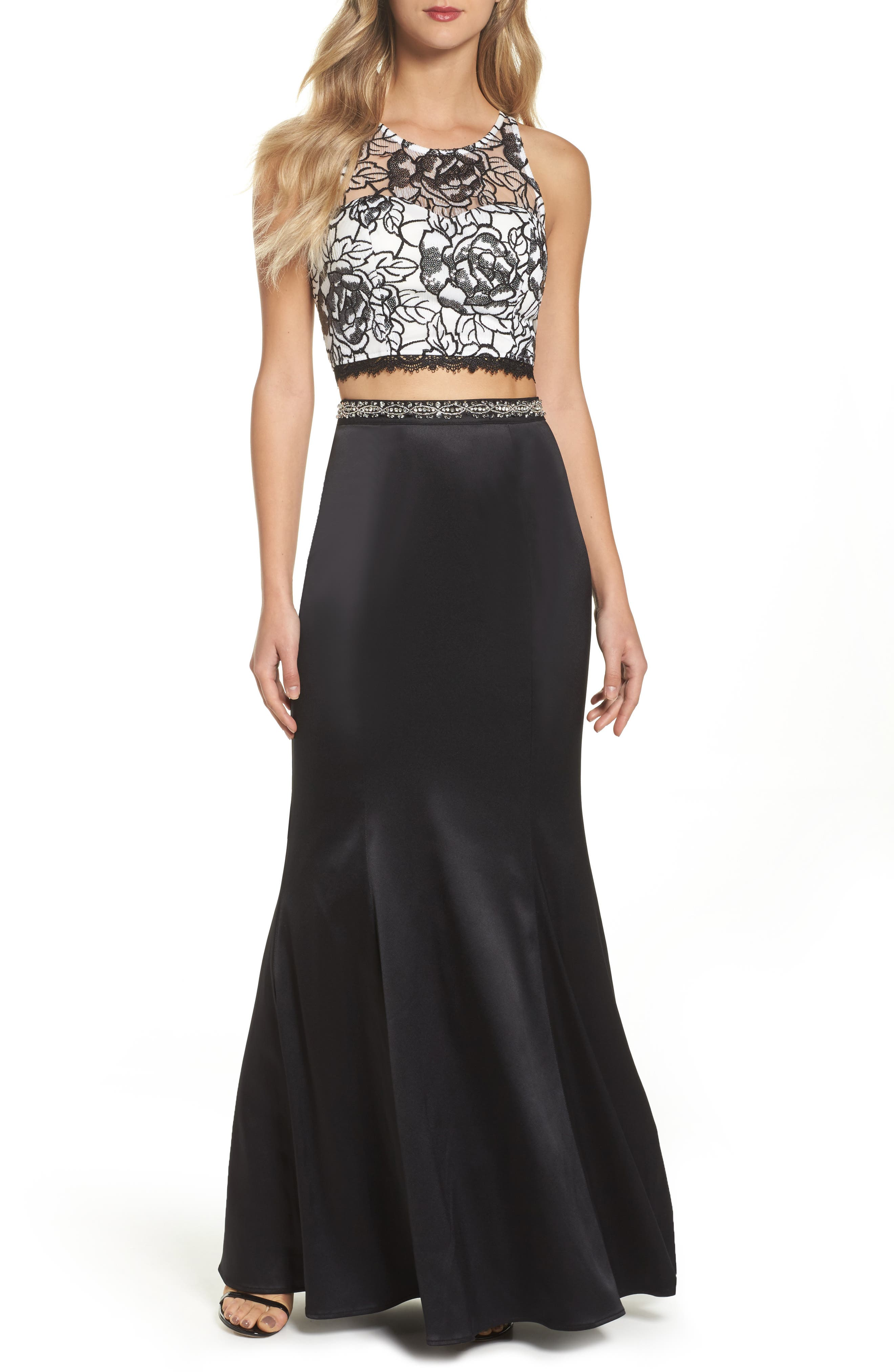 Sequined Lace Two-Piece Gown,                             Main thumbnail 1, color,                             Black/ Ivory