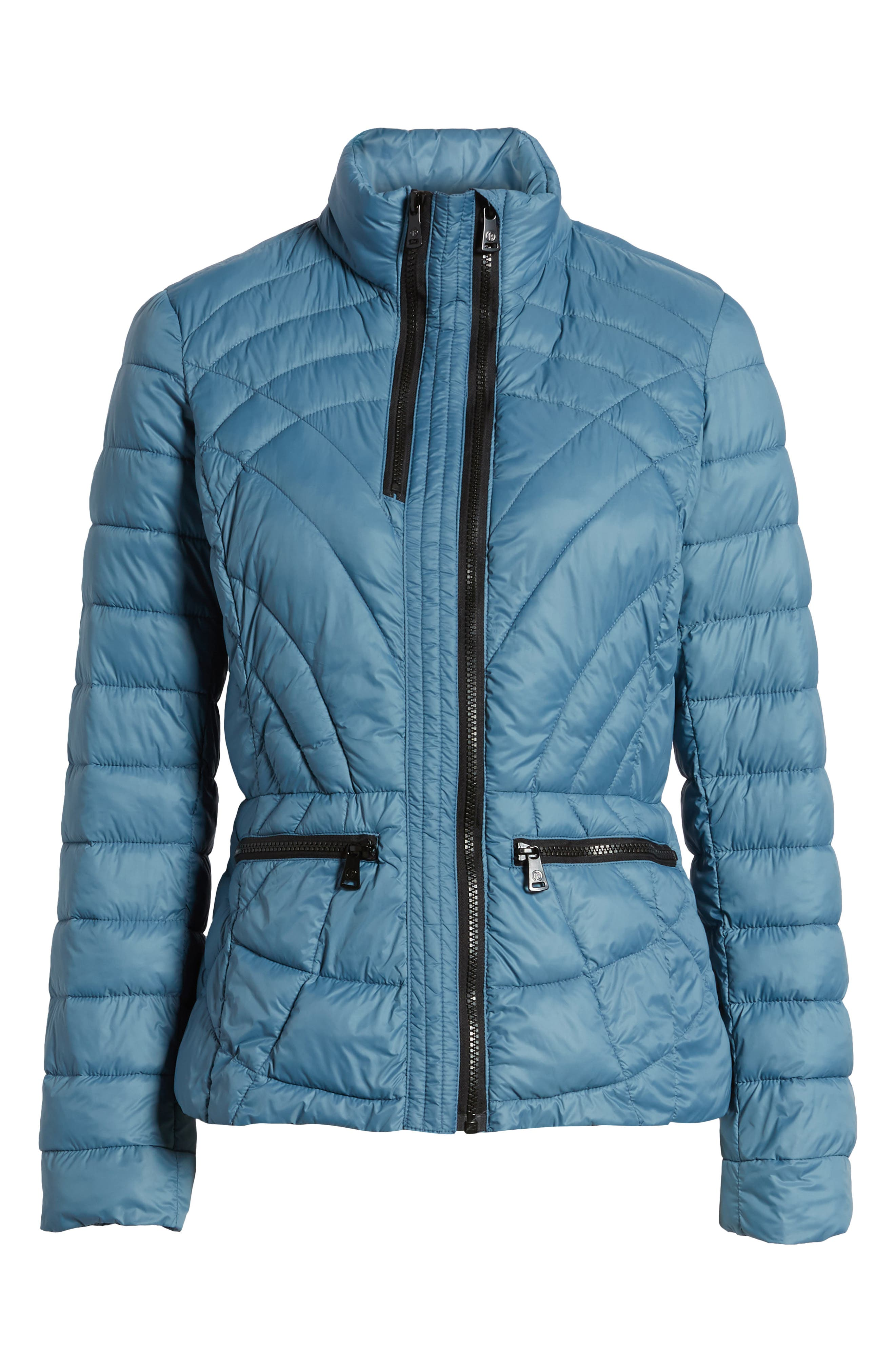 Sporty Water-Resistant Quilted Jacket,                         Main,                         color, Aqua Blue
