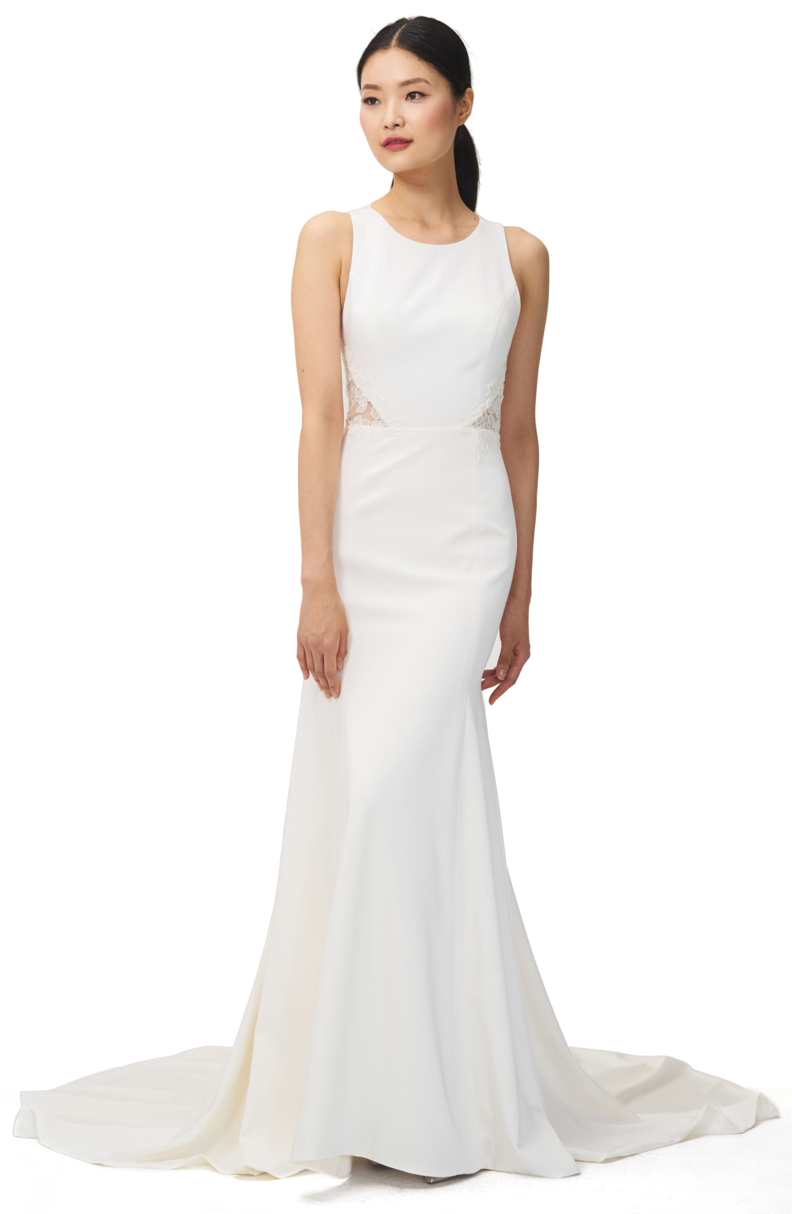 Jenny Yoo Reid Lace & Crepe Trumpet Gown