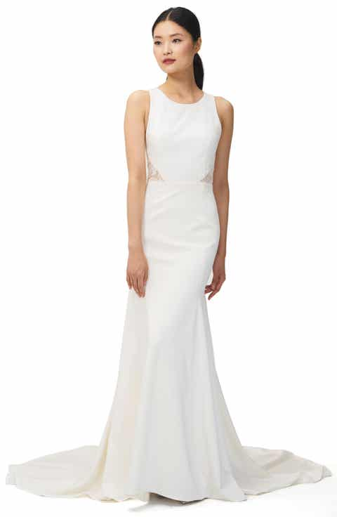 Jenny Yoo Reid Lace Crepe Trumpet Gown