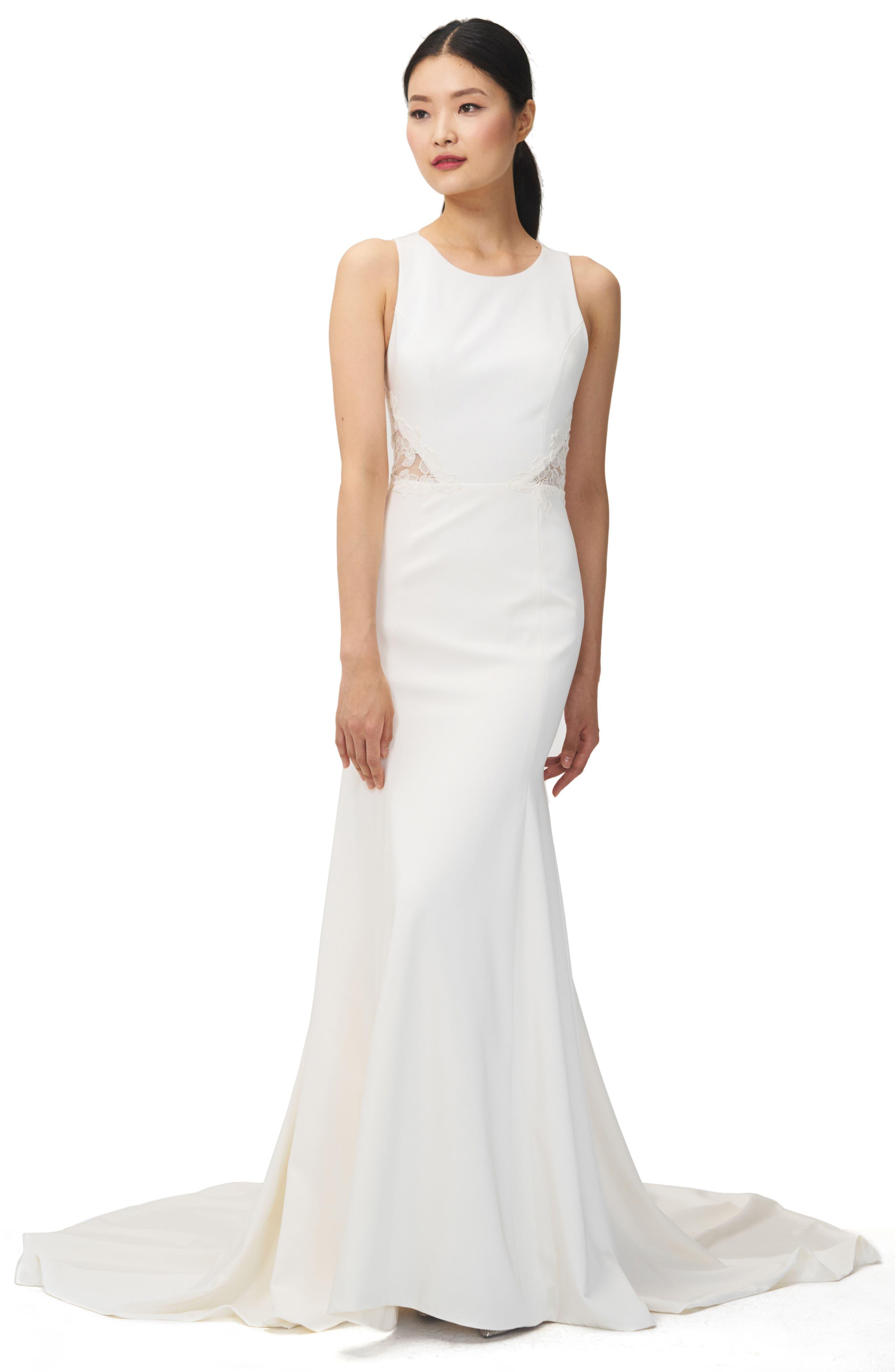 Jenny Yoo Reid Lace U0026 Crepe Trumpet Gown
