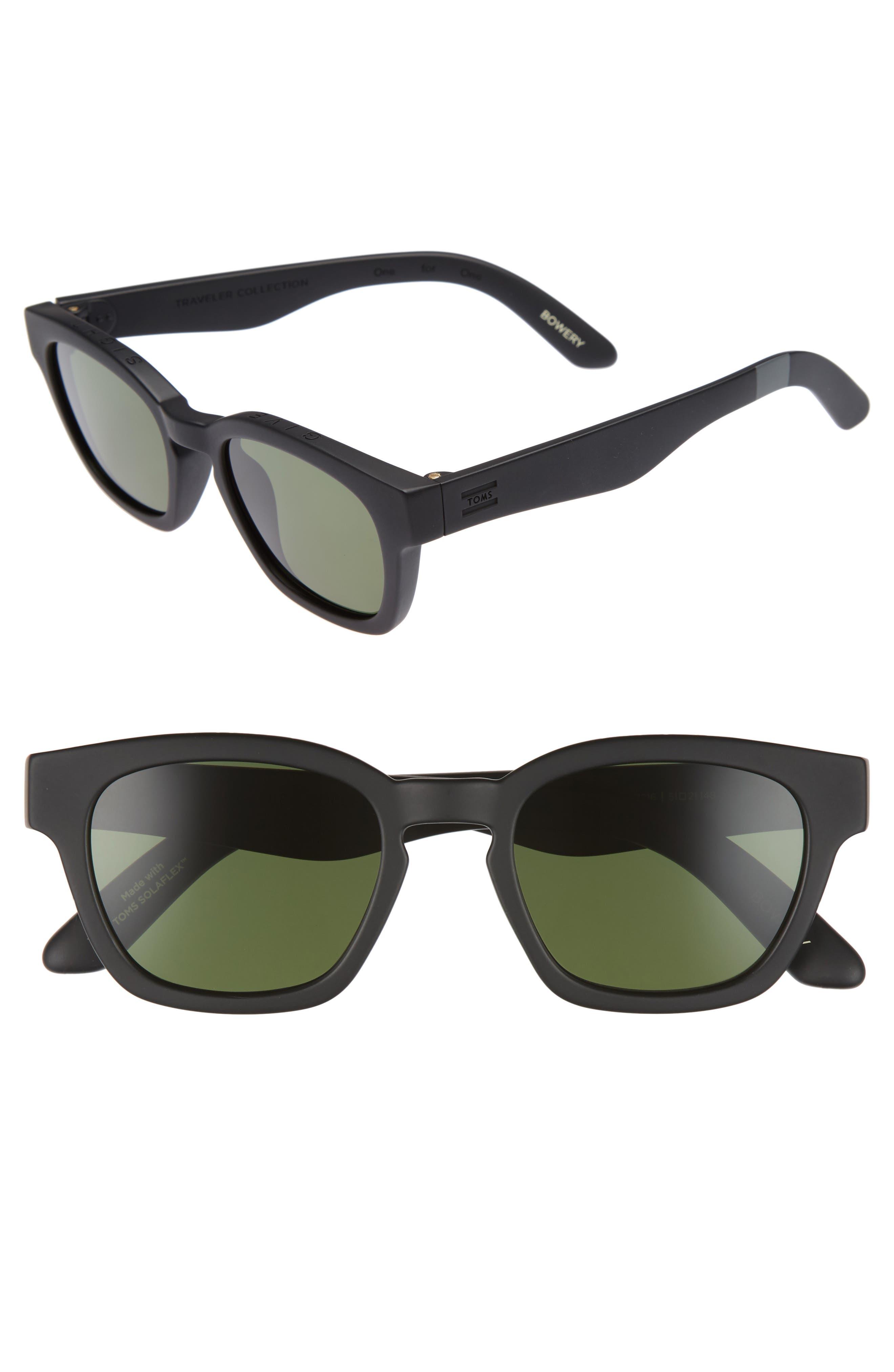 Bowery 51mm Polarized Sunglasses,                             Main thumbnail 1, color,                             Matte Black Polar