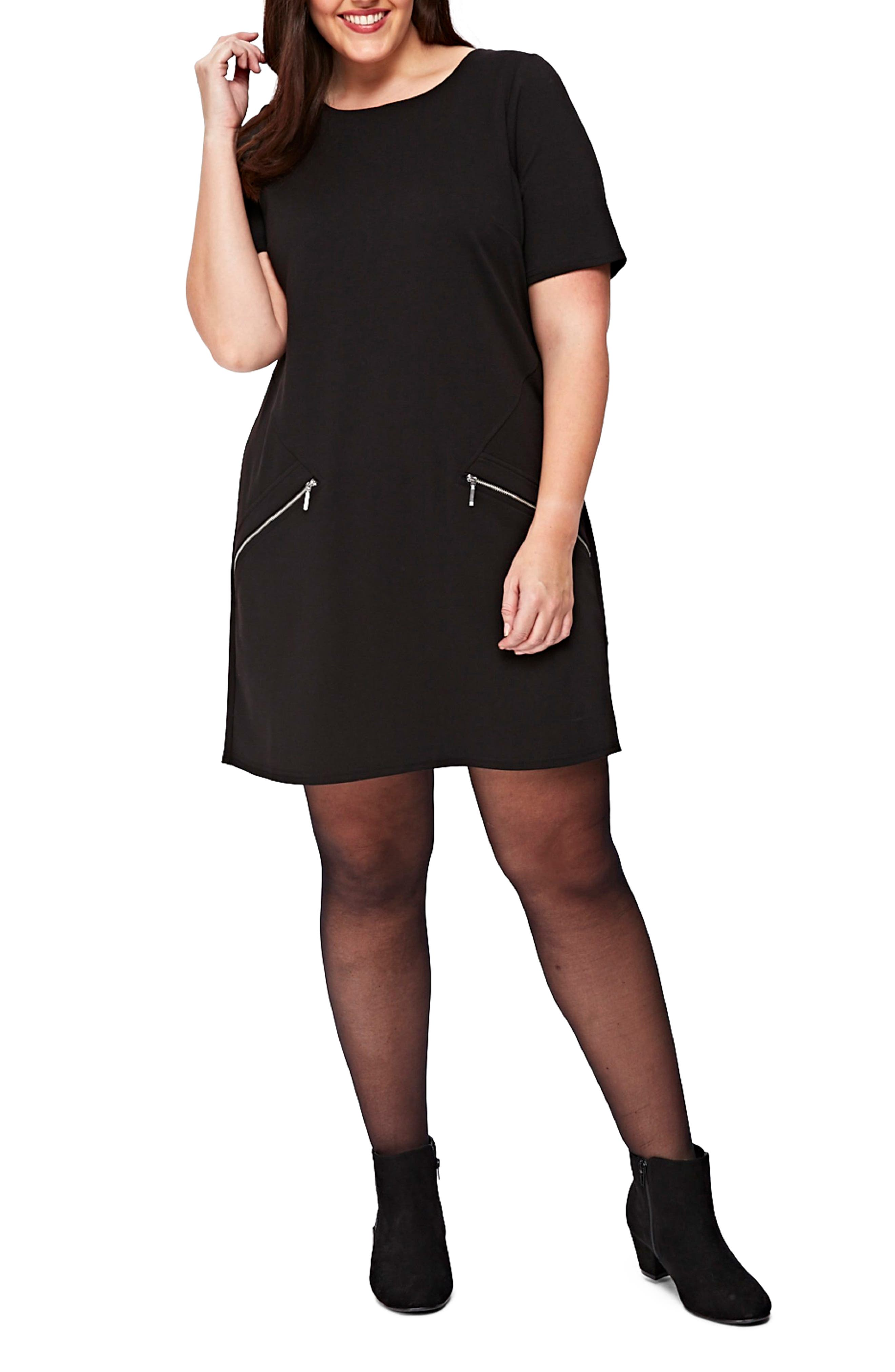 Ponte Knit Tunic Dress,                         Main,                         color, Black