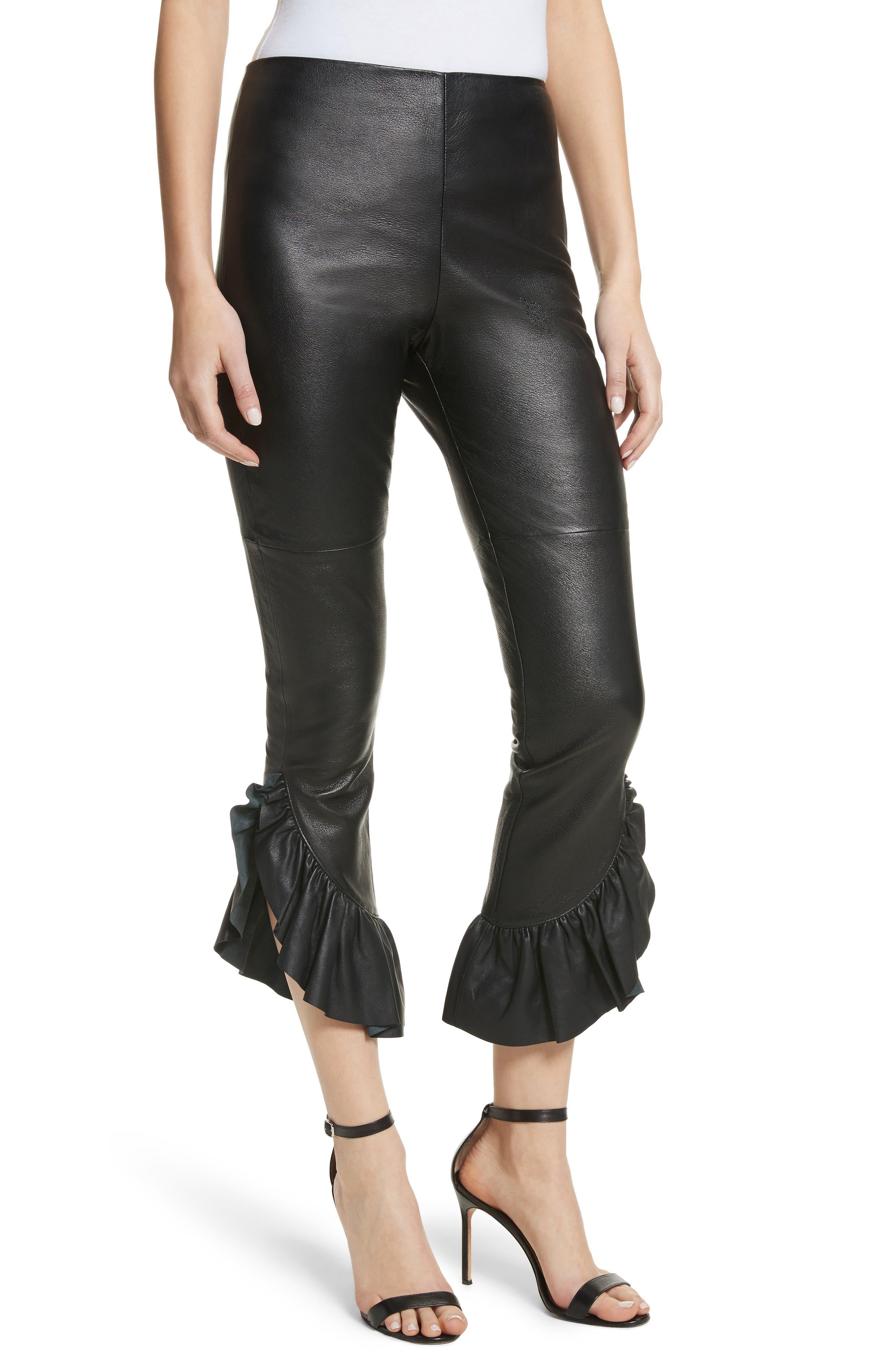 Gionata Ruffle Hem Leather Pants,                             Main thumbnail 1, color,                             Black