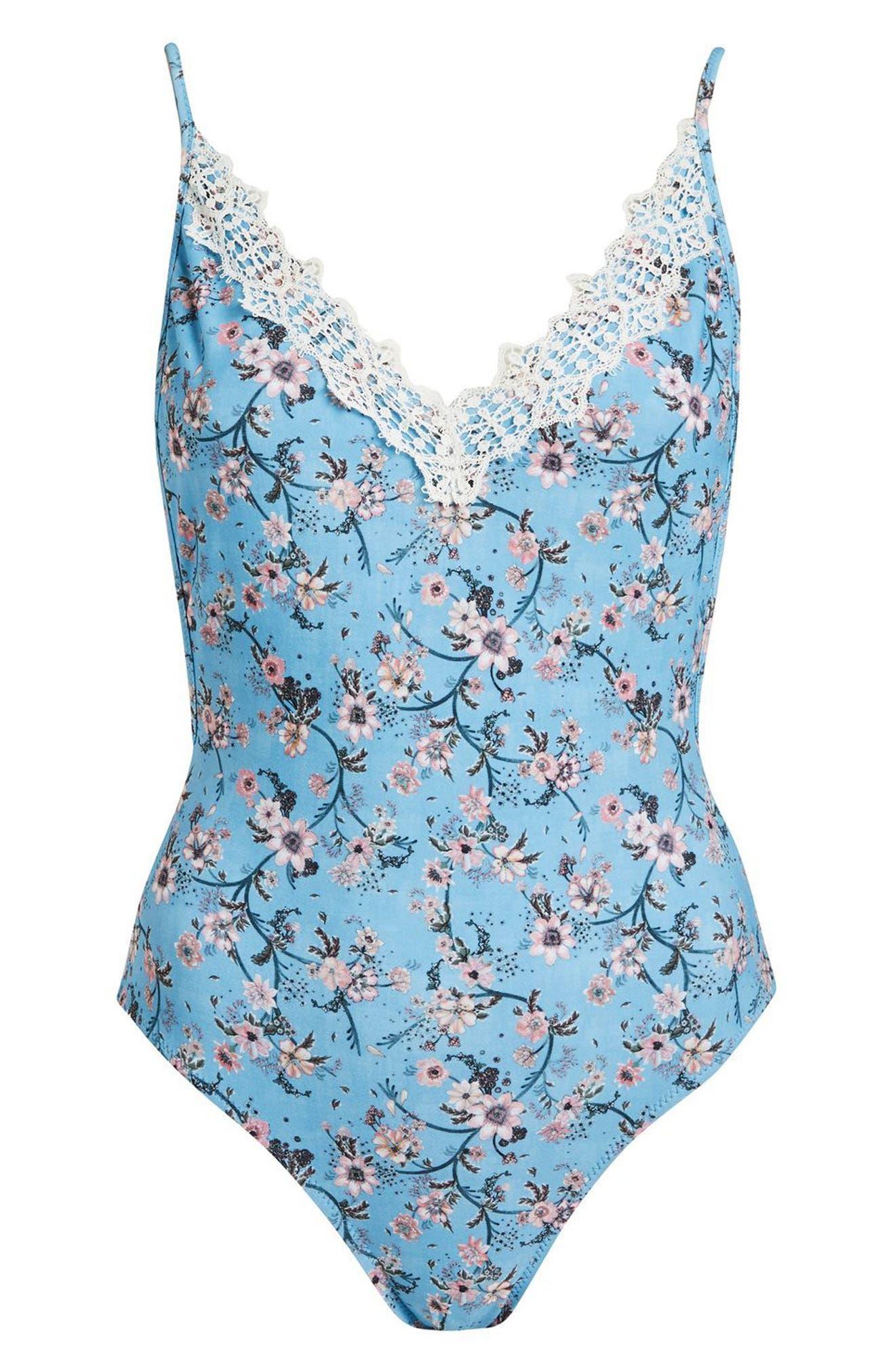Ditsy Lace Trim Swimsuit,                             Alternate thumbnail 3, color,                             Blue Multi