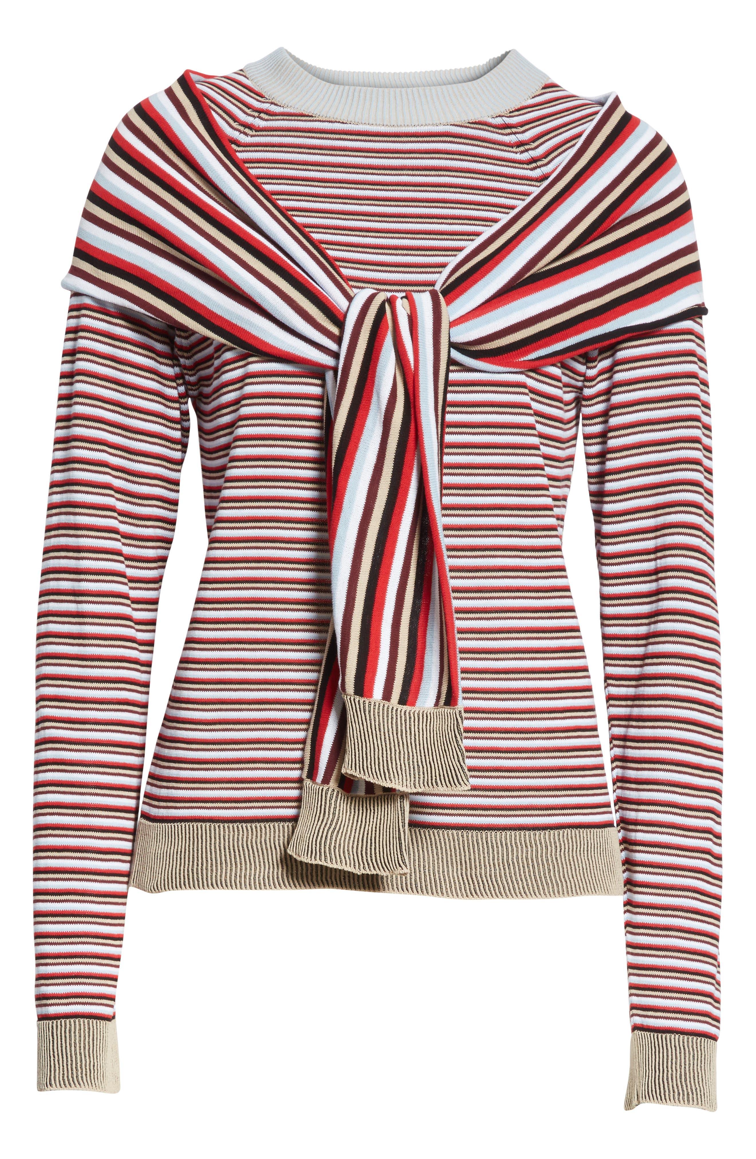 Trompe L'Oeil Sweater,                             Alternate thumbnail 6, color,                             Preppy