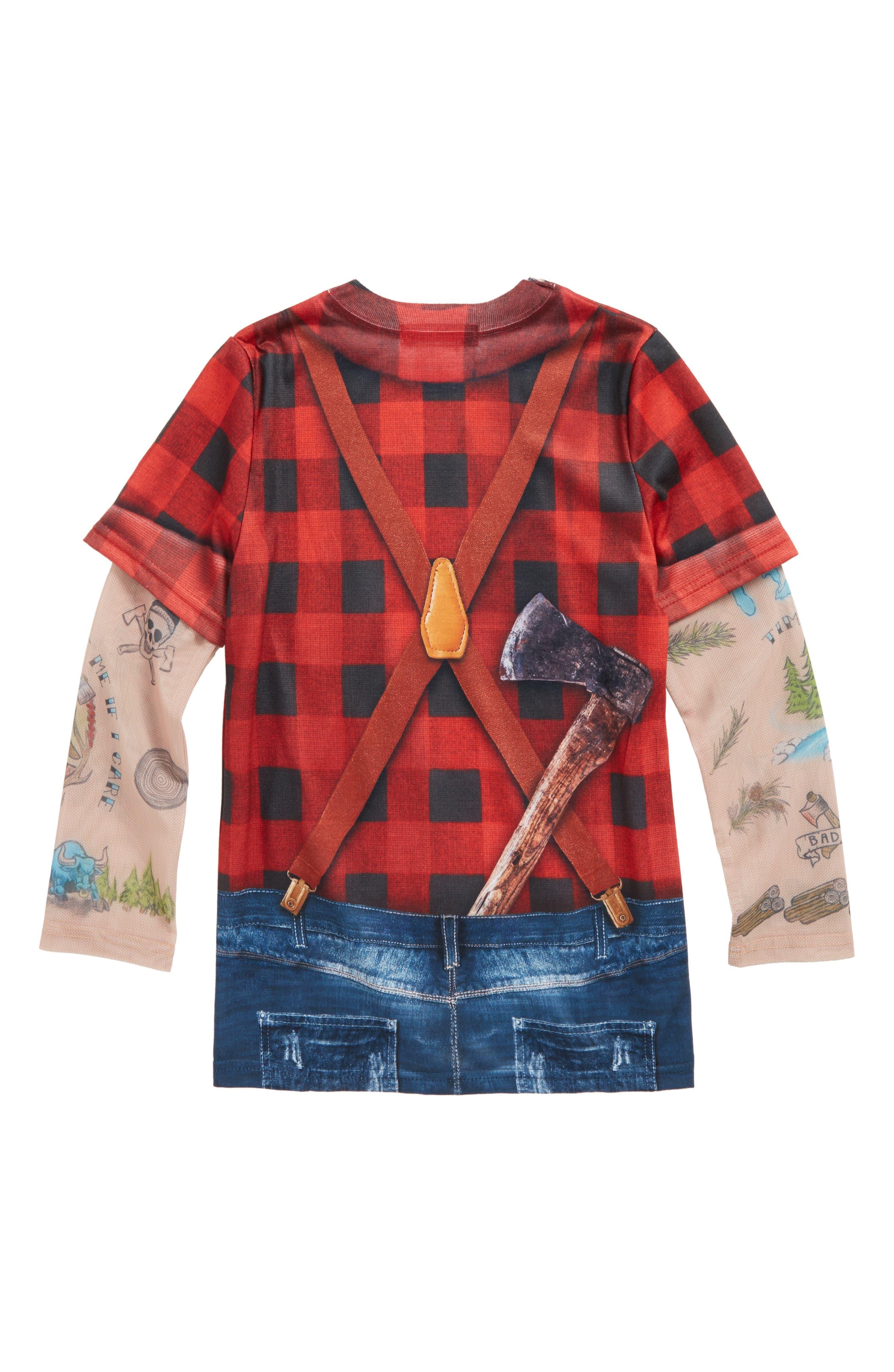 Lumberjack Tattoo Print Sleeve T-Shirt,                             Alternate thumbnail 2, color,                             Red/ Black Plaid