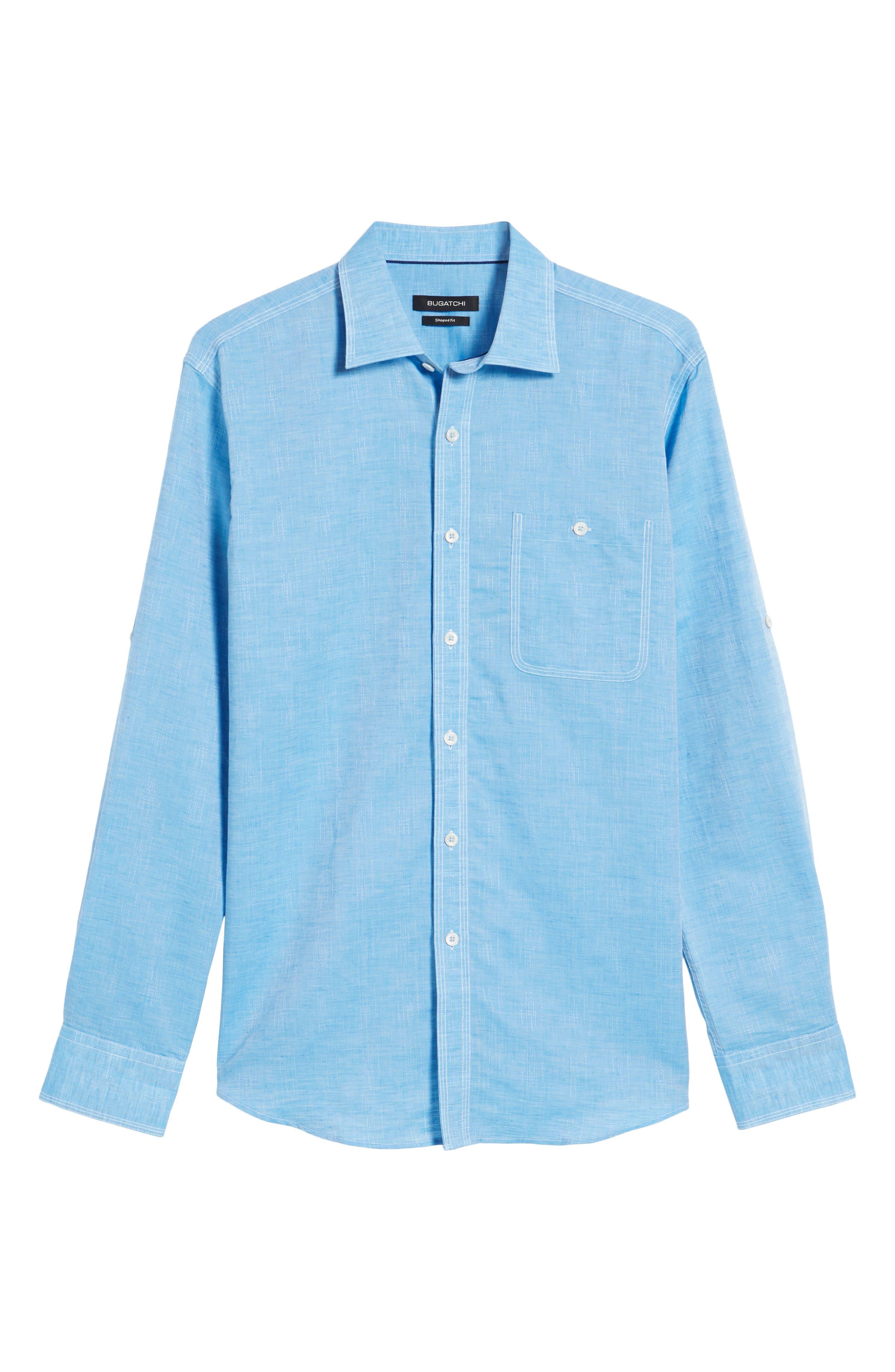 Shaped Fit Sport Shirt,                             Alternate thumbnail 6, color,                             Turquoise