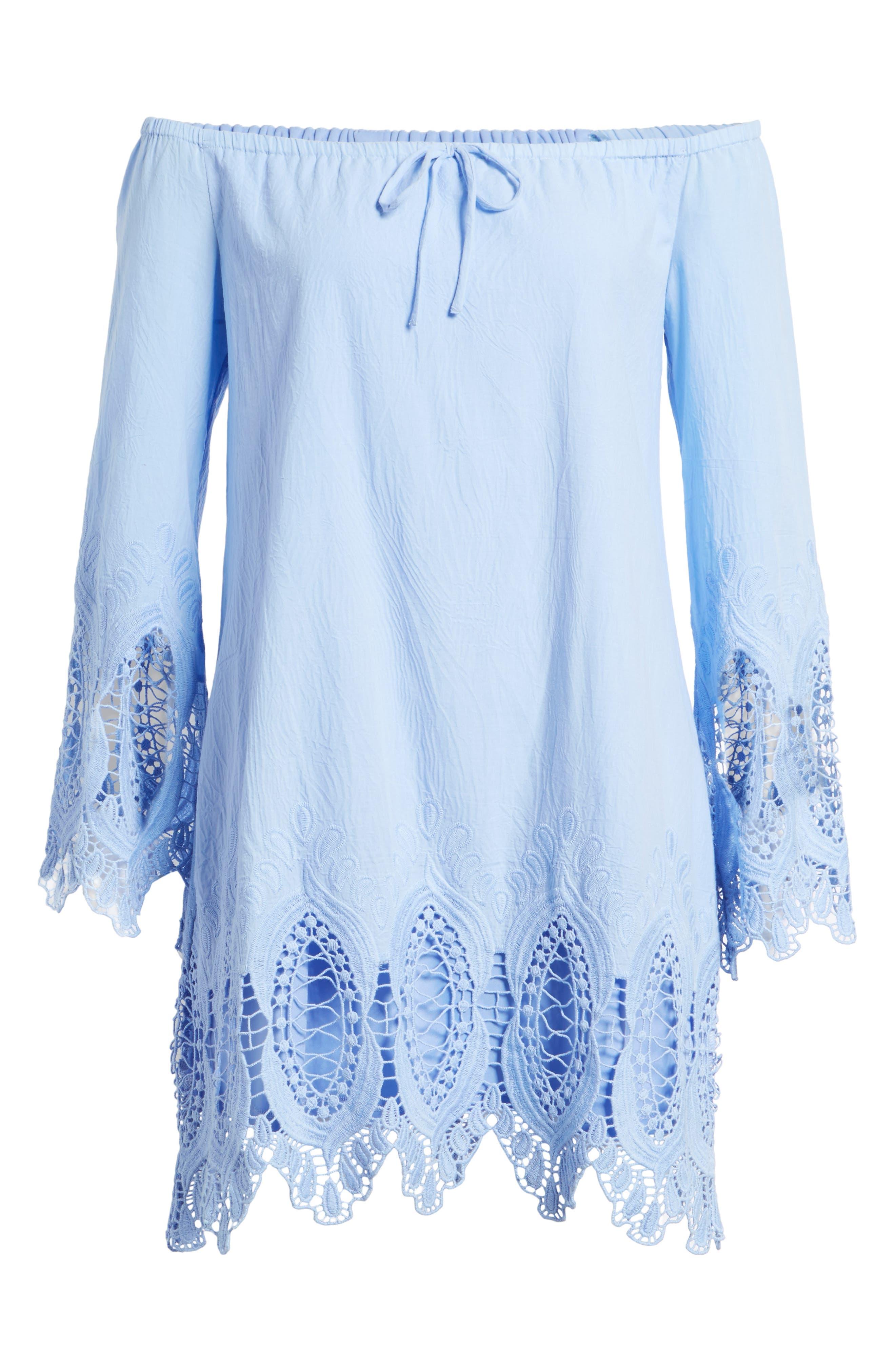 Lace Trim Off the Shoulder Dress,                             Alternate thumbnail 6, color,                             Blue Powder