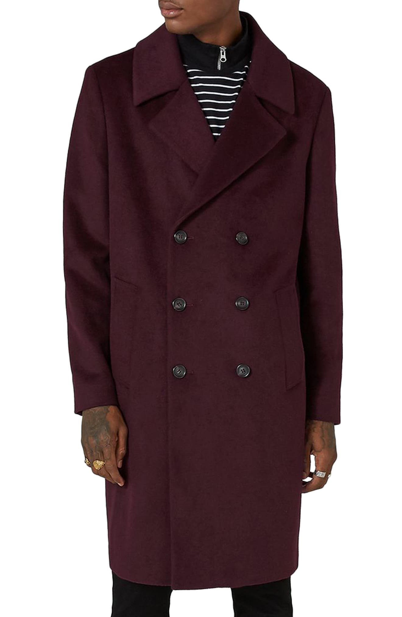 Oversize Double Breated Coat,                         Main,                         color, Burgundy