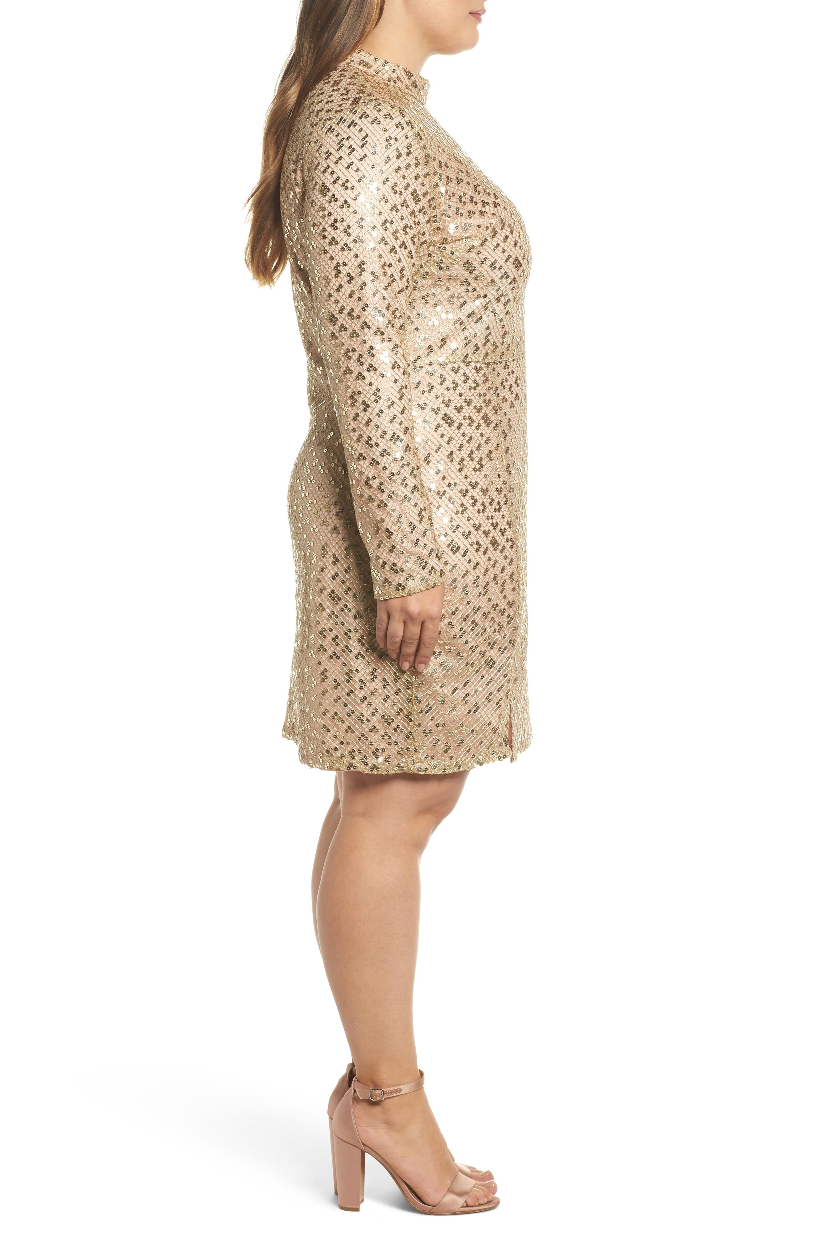 Mock Neck Sequin Embroidered Body-Con Dress,                             Alternate thumbnail 3, color,                             Nude Gold