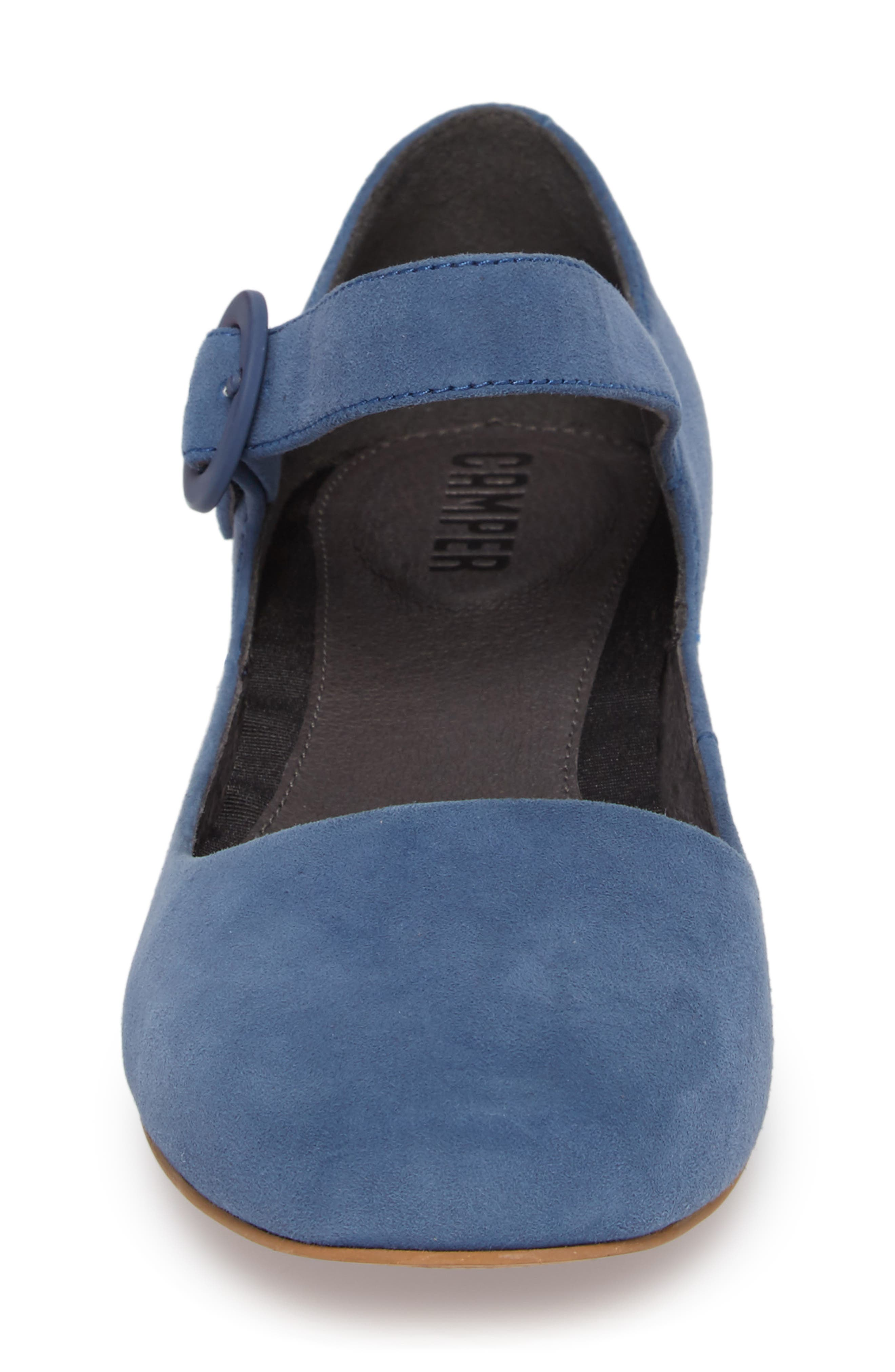 Serena Mary Jane Flat,                             Alternate thumbnail 4, color,                             Bright Blue Suede