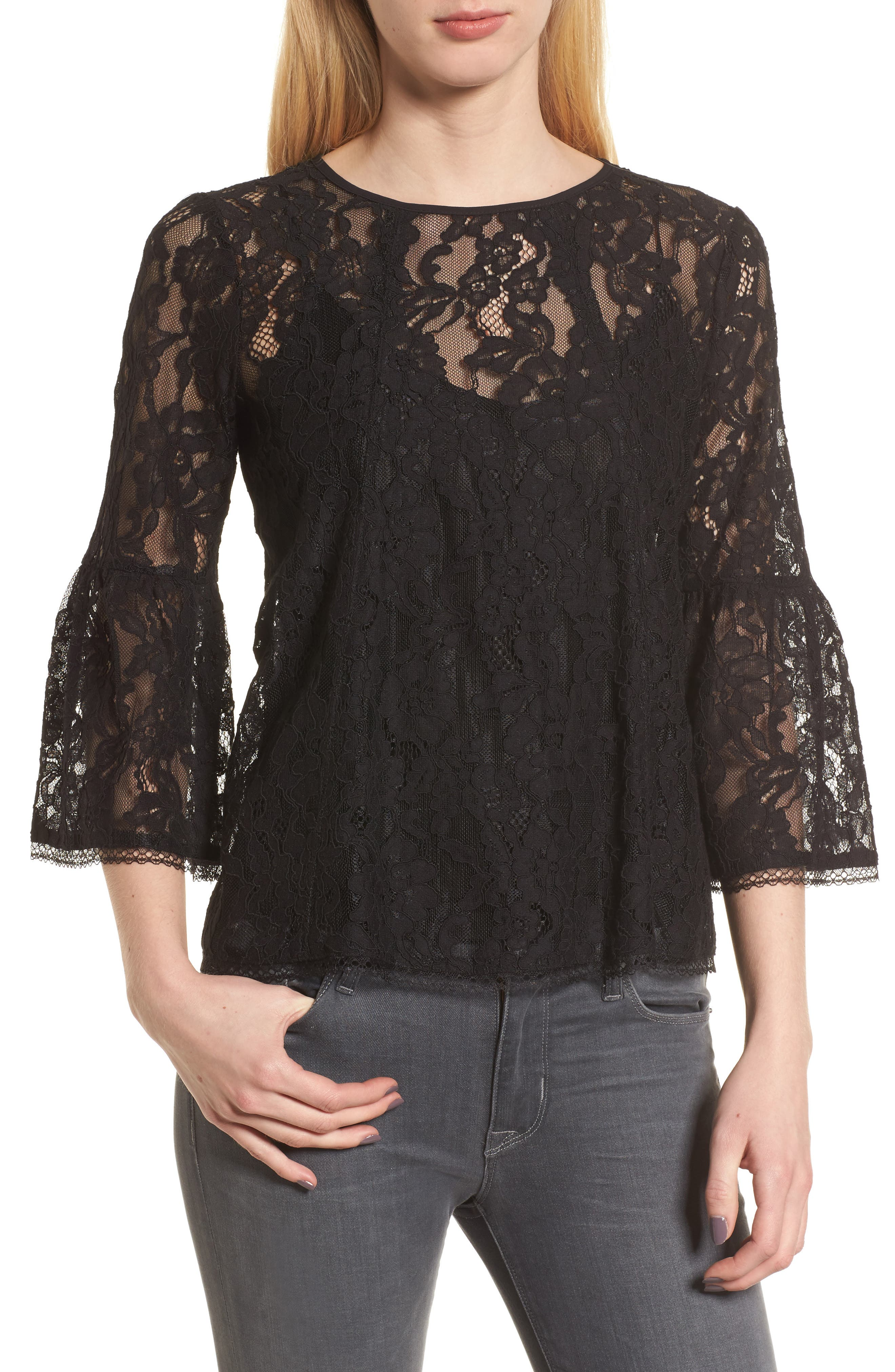 Bell Sleeve Lace Top,                         Main,                         color, Black