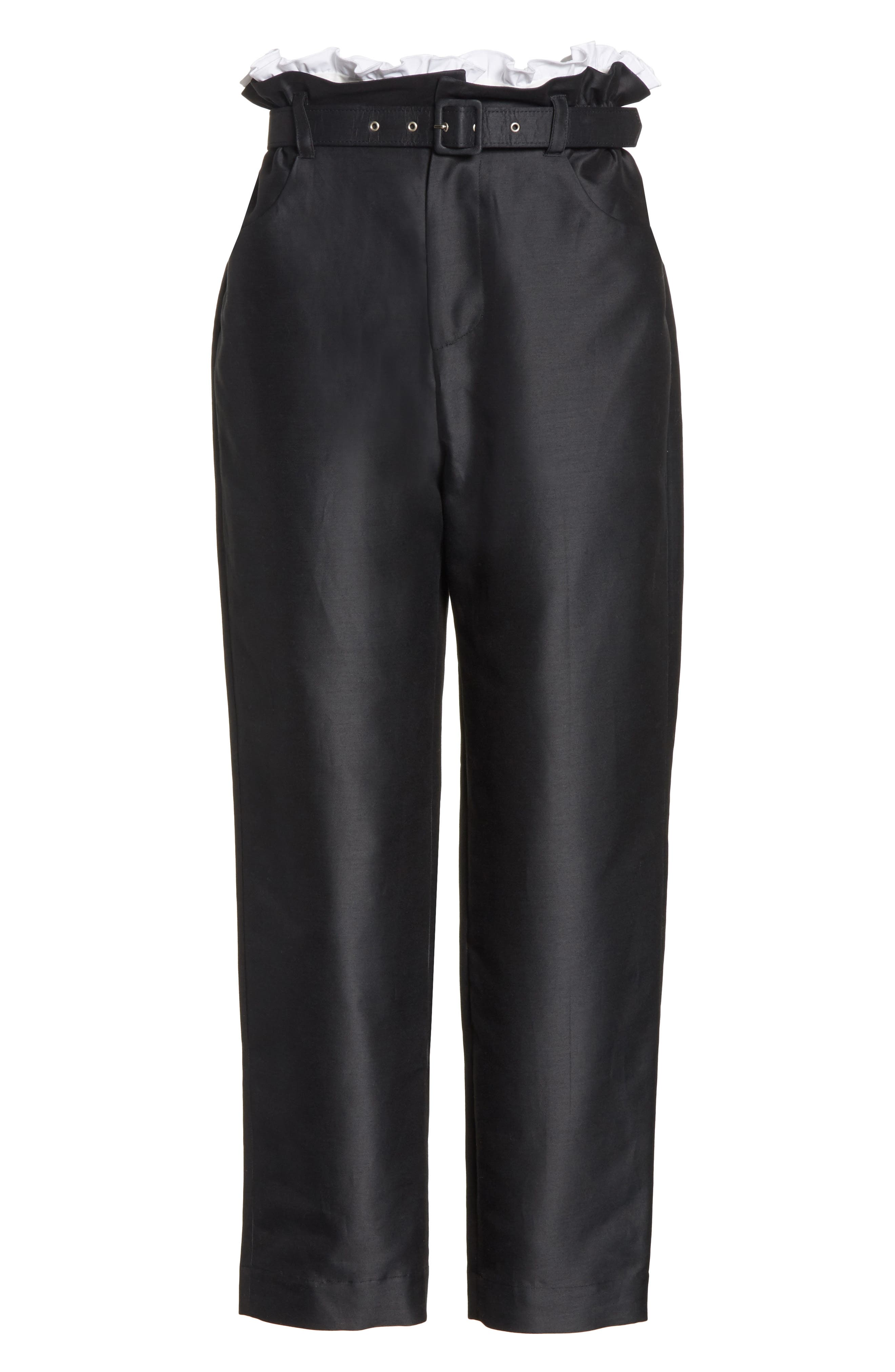 Paperbag Cotton & Silk Trousers,                             Alternate thumbnail 6, color,                             Black
