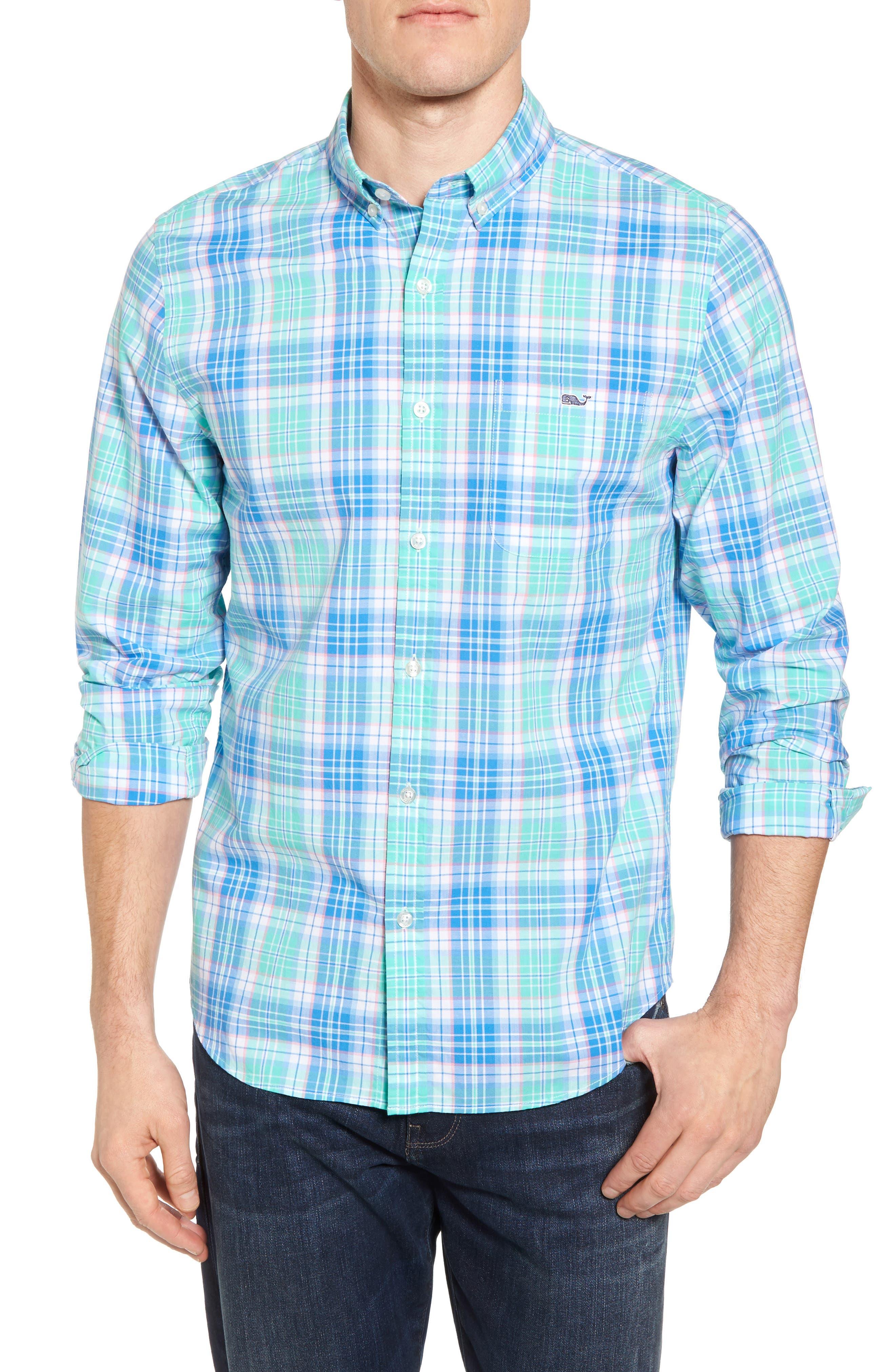 Sutherland Road Slim Fit Plaid Sport Shirt,                             Main thumbnail 1, color,                             Antigua Green