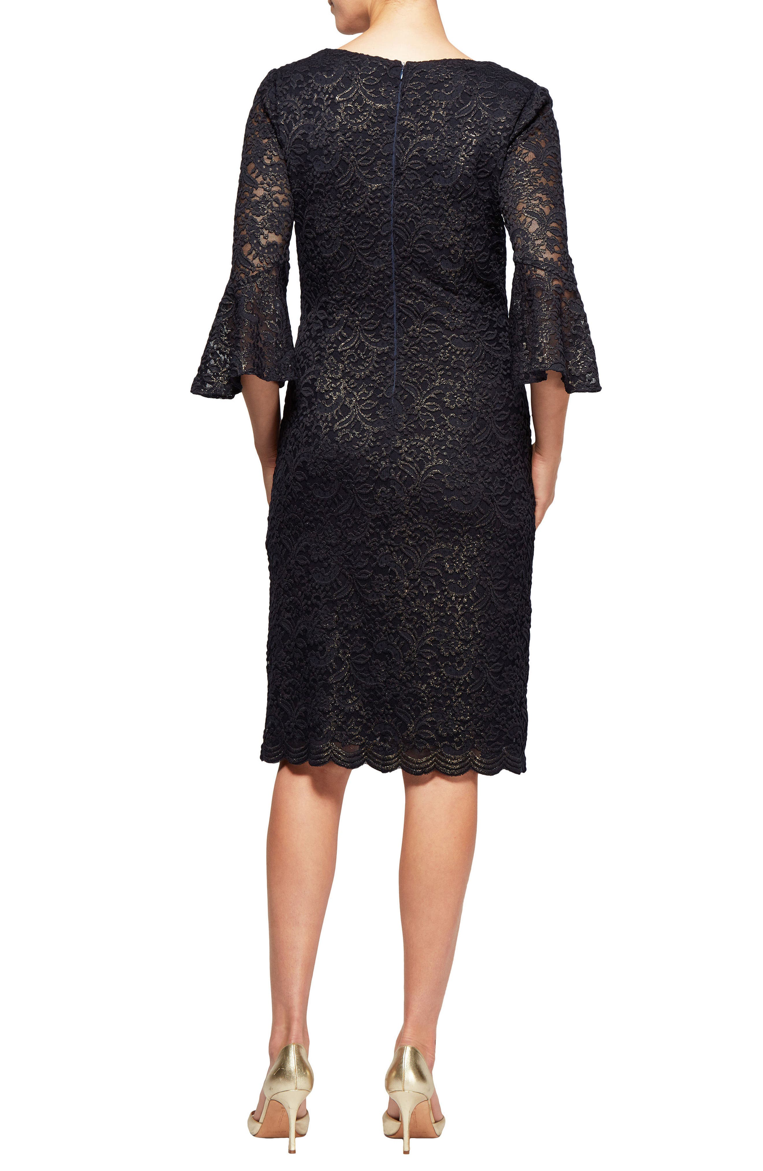 Metallic Lace Bell Sleeve Dress,                             Alternate thumbnail 2, color,                             Navy/ Gold