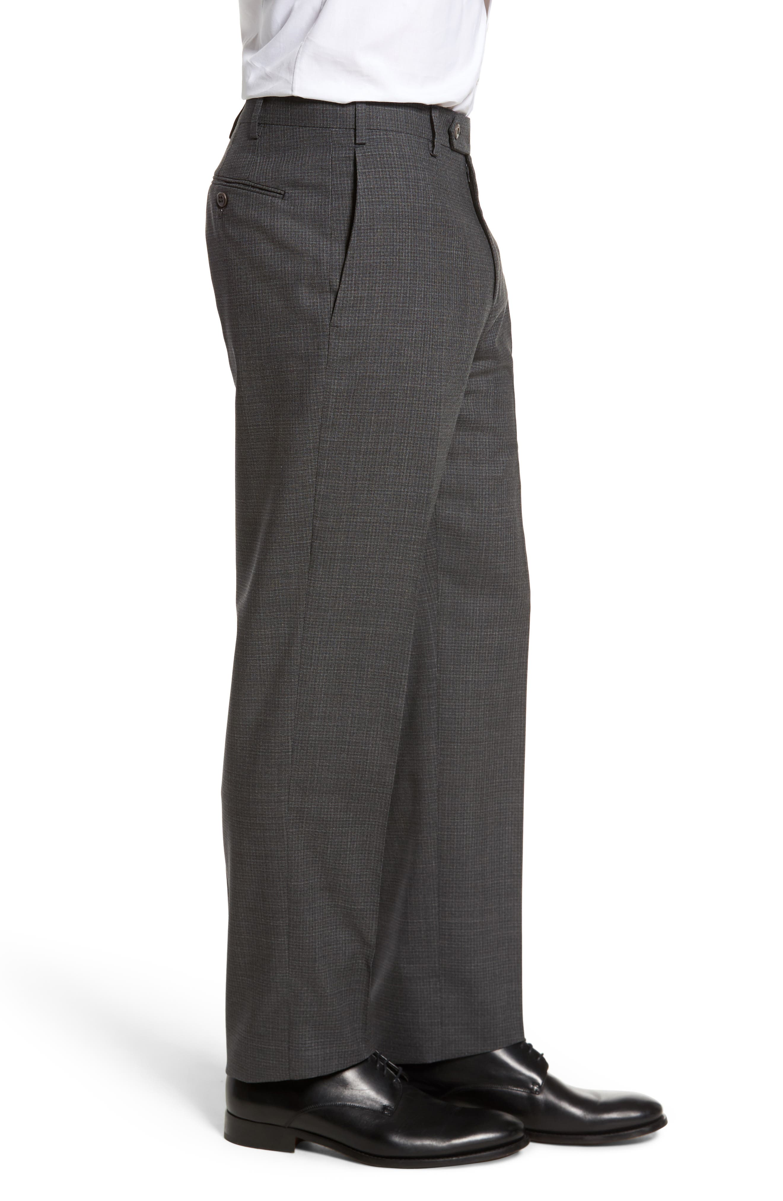 Devon Flat Front Check Wool Trousers,                             Alternate thumbnail 3, color,                             Dark Grey