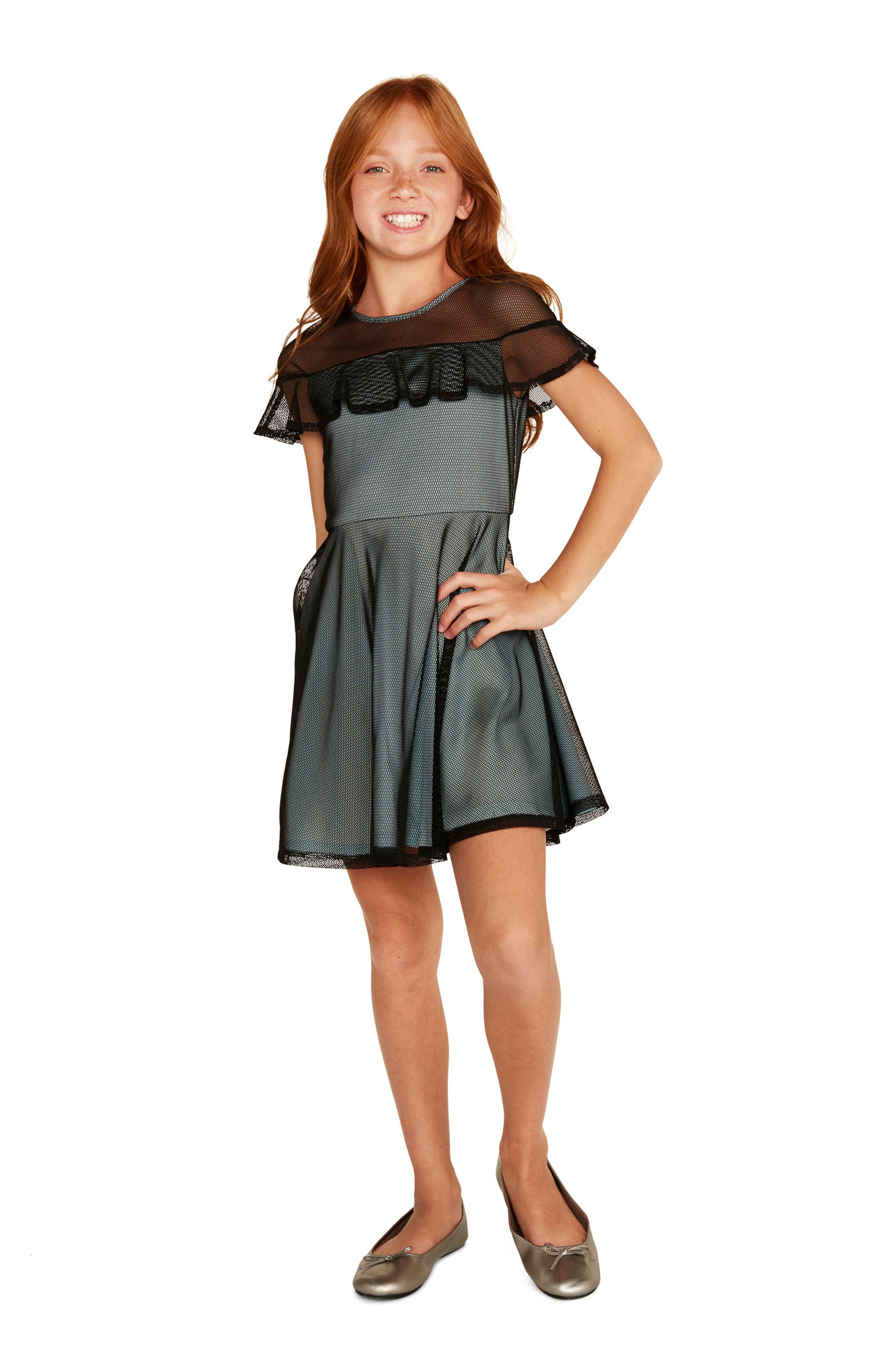 Ruffle Mesh Overlay Dress,                             Alternate thumbnail 3, color,                             Black