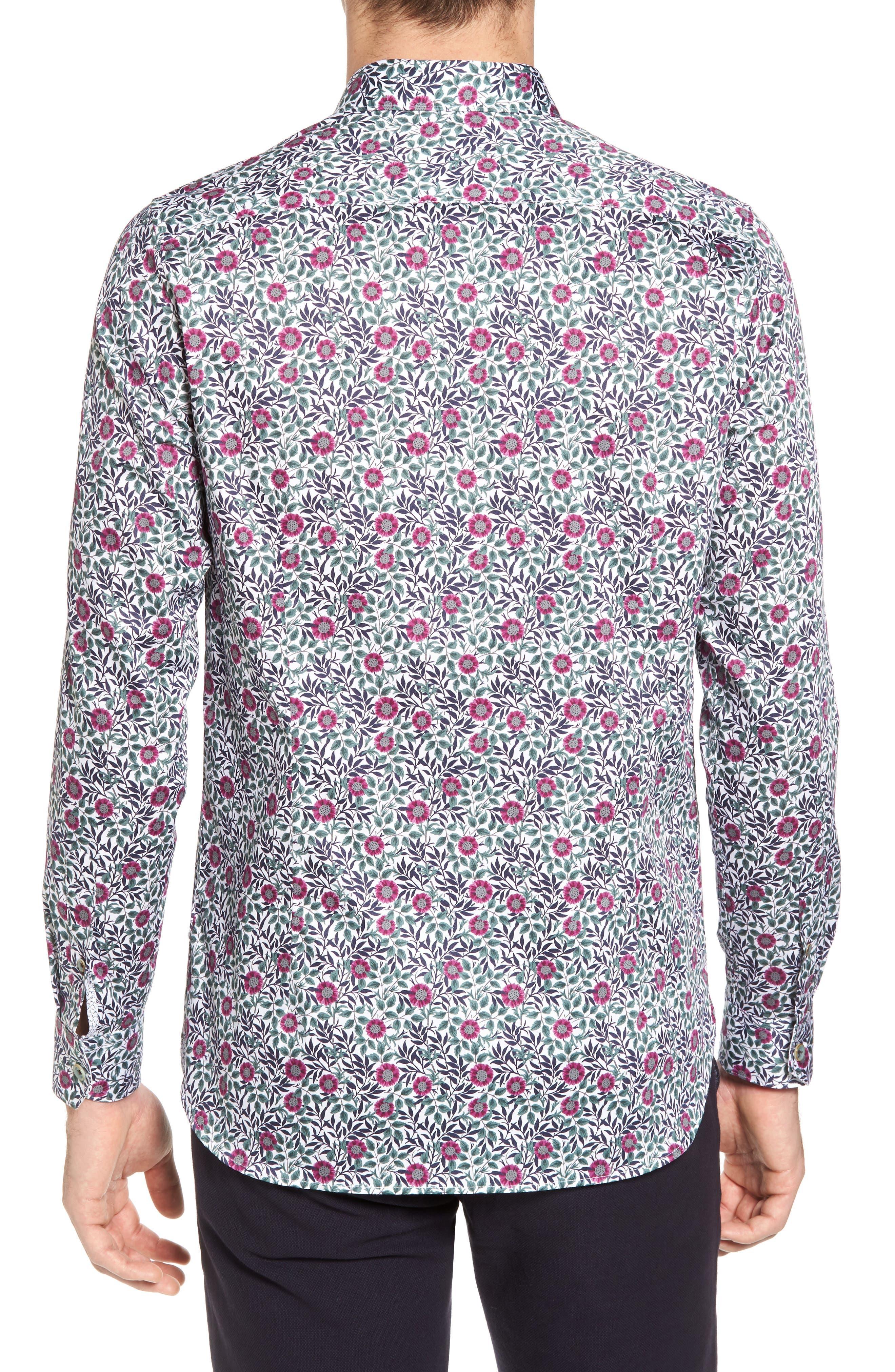 Orense Floral Print Slim Fit Shirt,                             Alternate thumbnail 3, color,                             Green