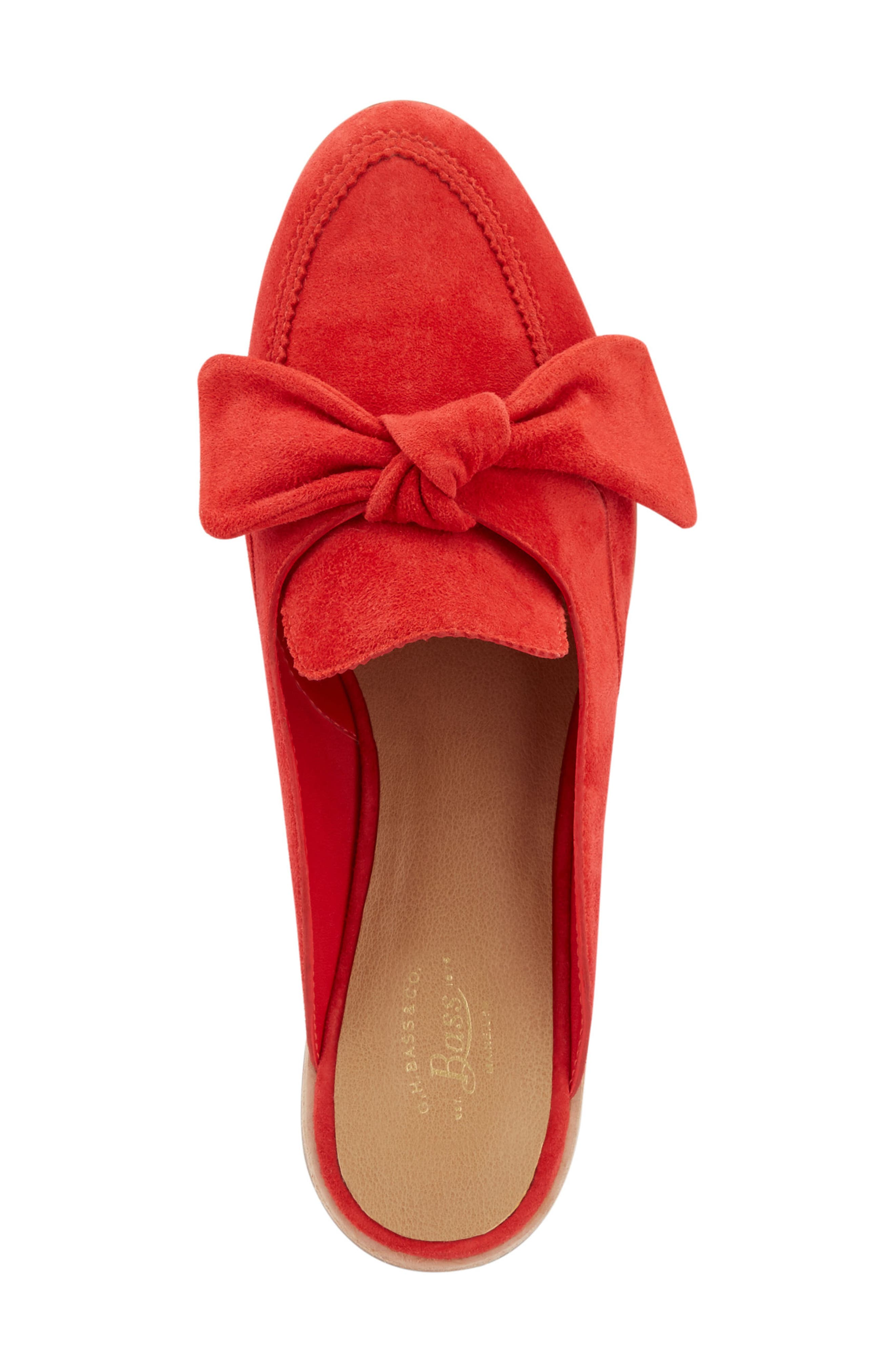 Ebbie Bow Mule,                             Alternate thumbnail 5, color,                             Red Suede