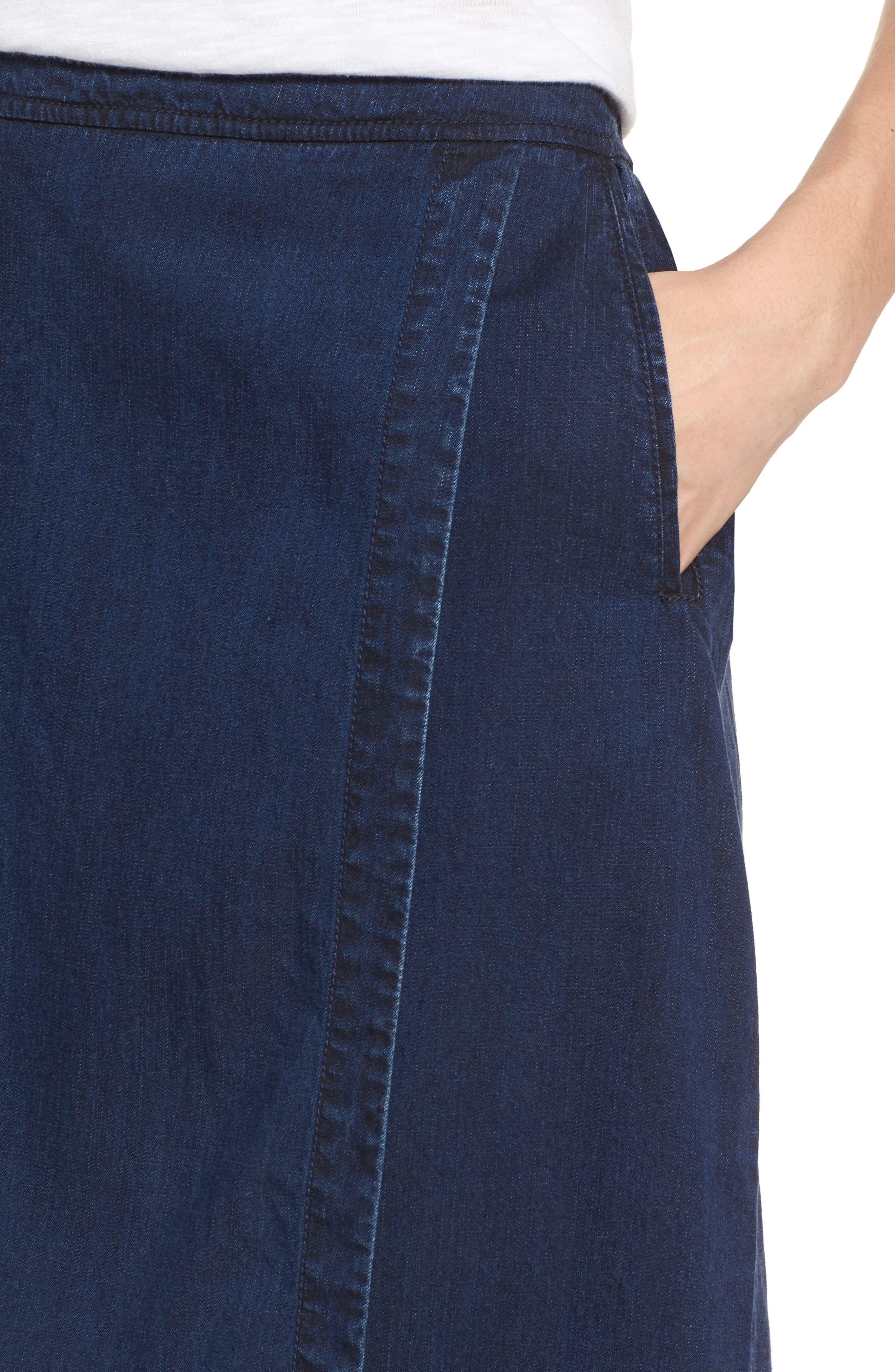 Faux Wrap Denim Skirt,                             Alternate thumbnail 4, color,                             Midnight