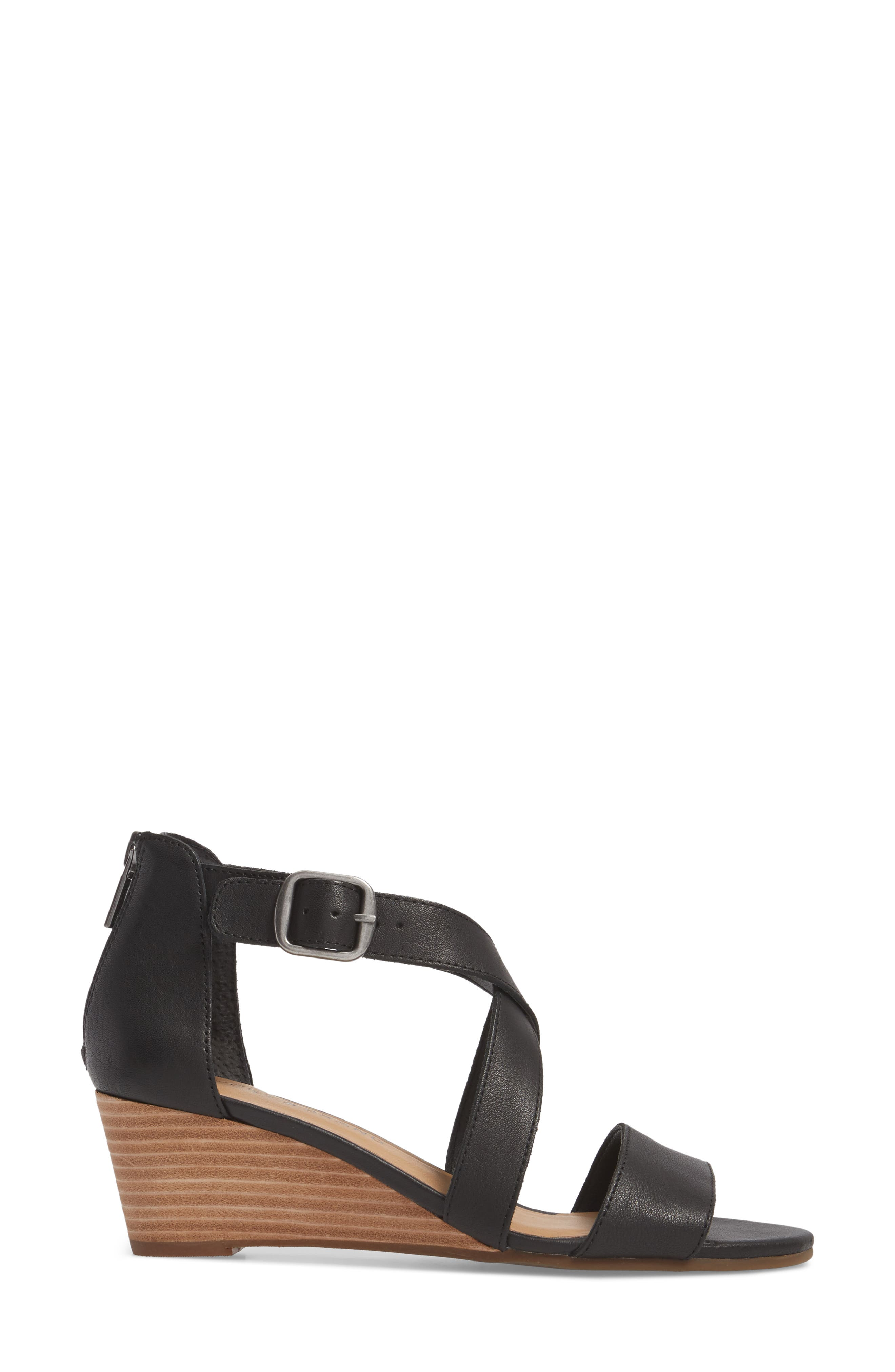 Jestah Wedge Sandal,                             Alternate thumbnail 3, color,                             Black Leather