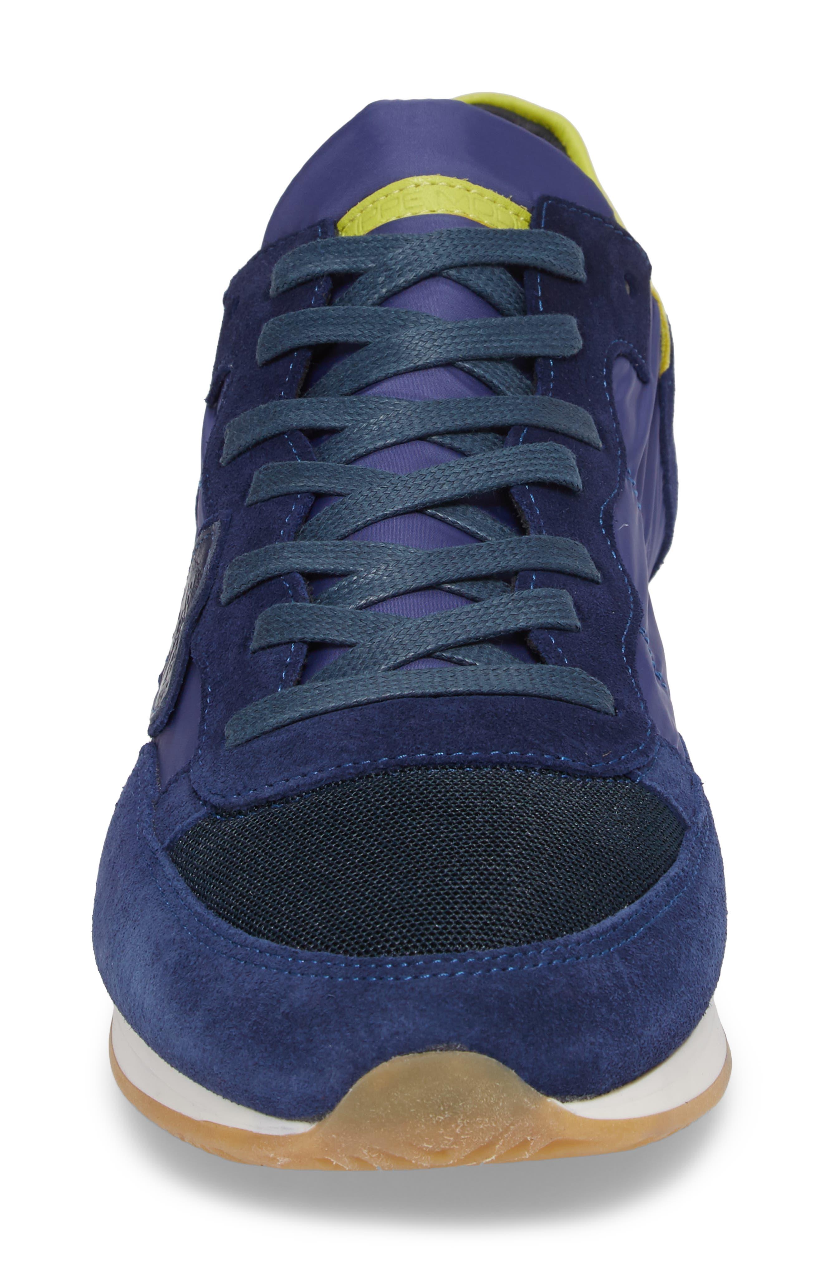 Tropez Low Top Sneaker,                             Alternate thumbnail 4, color,                             Blue/ Citron