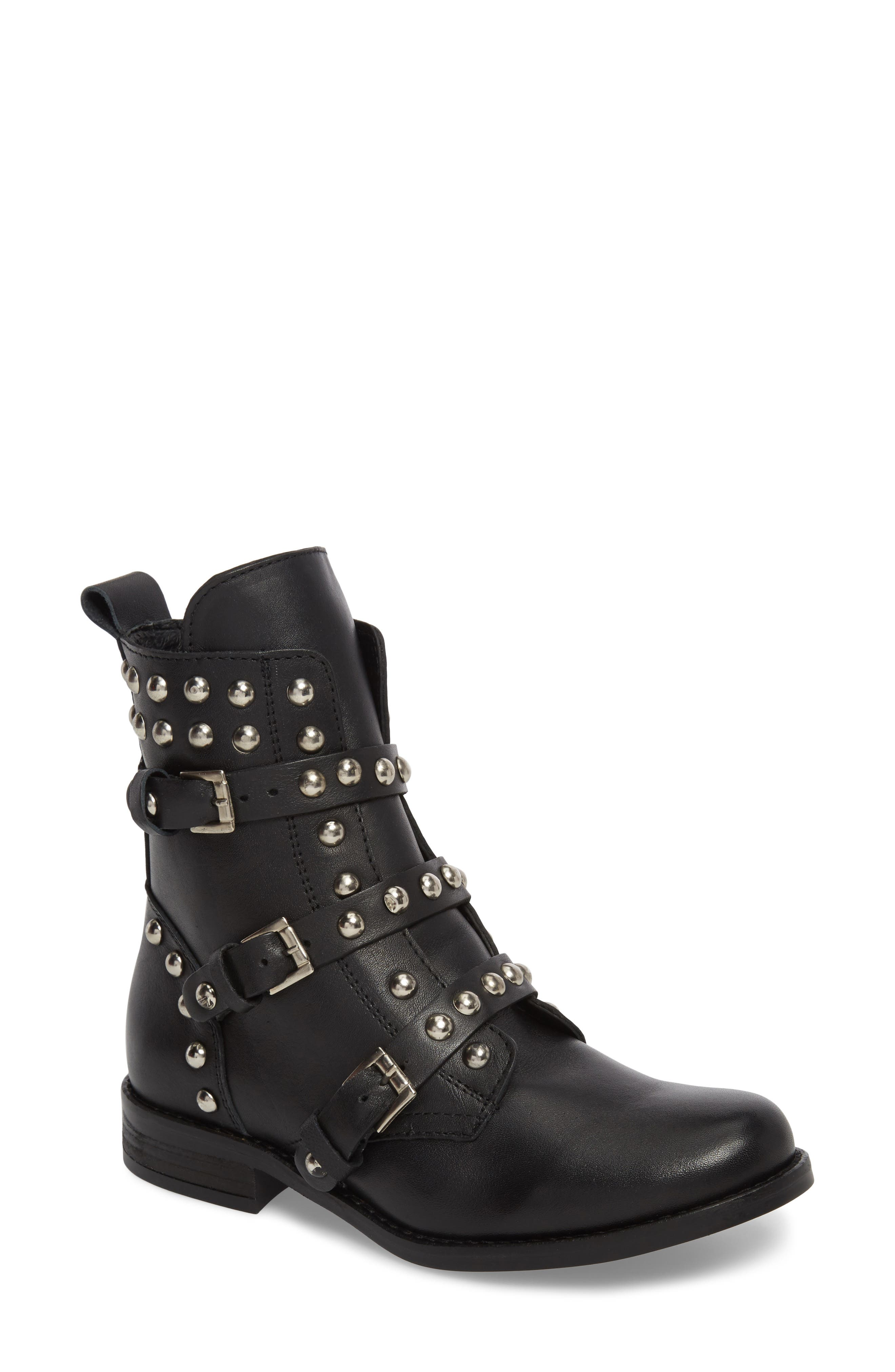 Studded Spunky Boot,                         Main,                         color, Black Leather