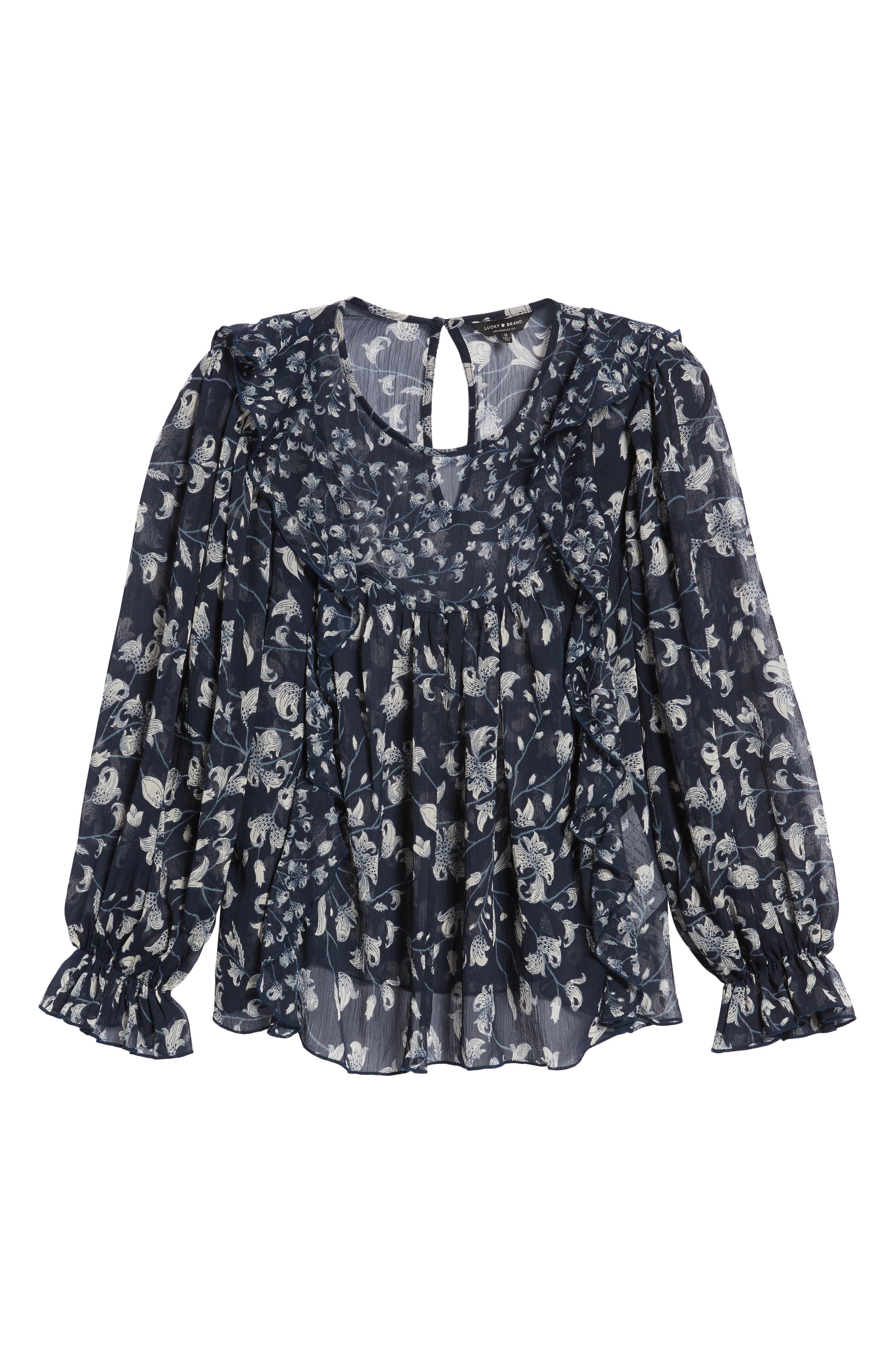 Ruffled Floral Top,                             Alternate thumbnail 6, color,                             Blue Multi
