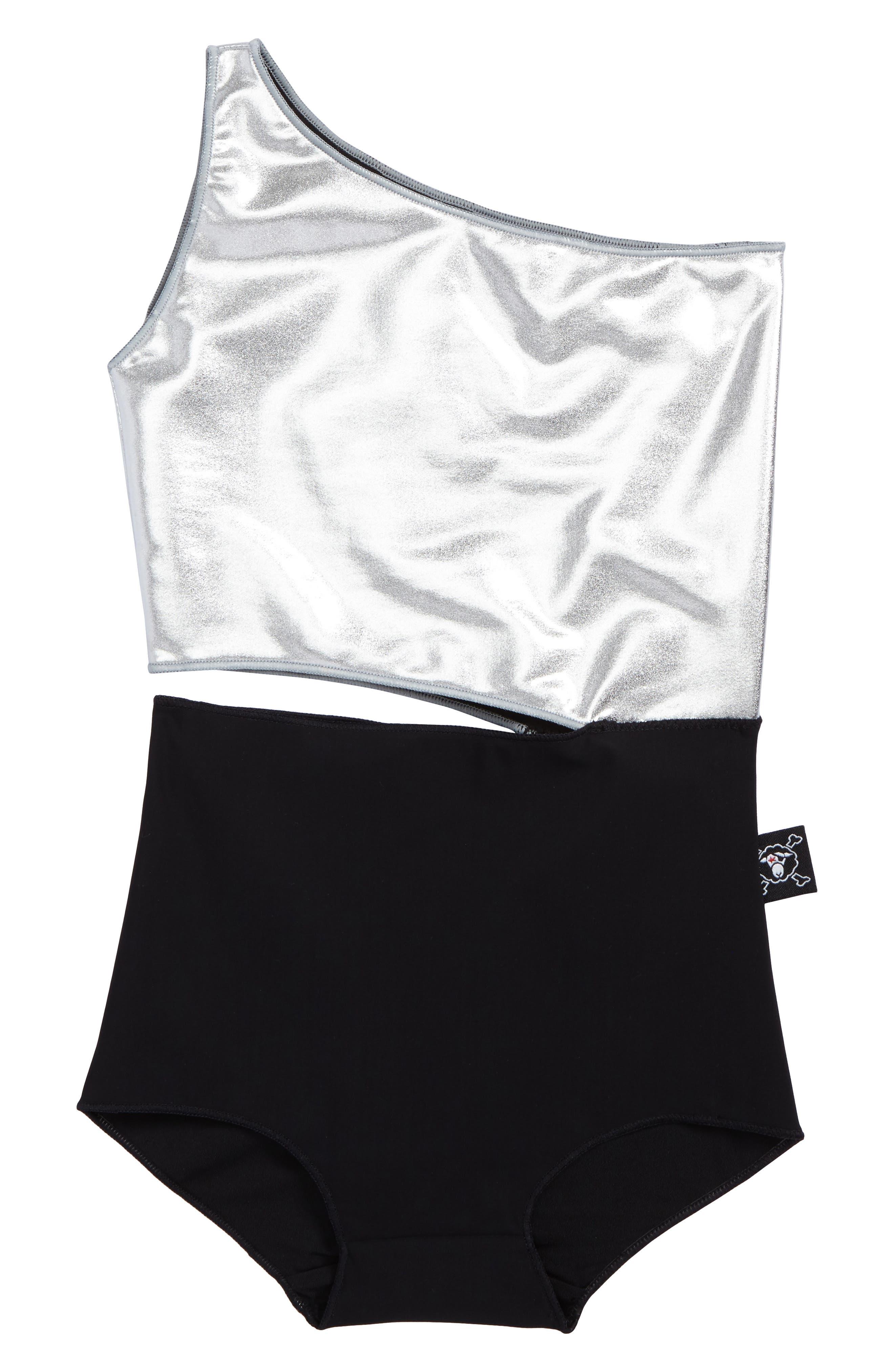 Cutout One-Piece Swimsuit,                         Main,                         color, Silver Black