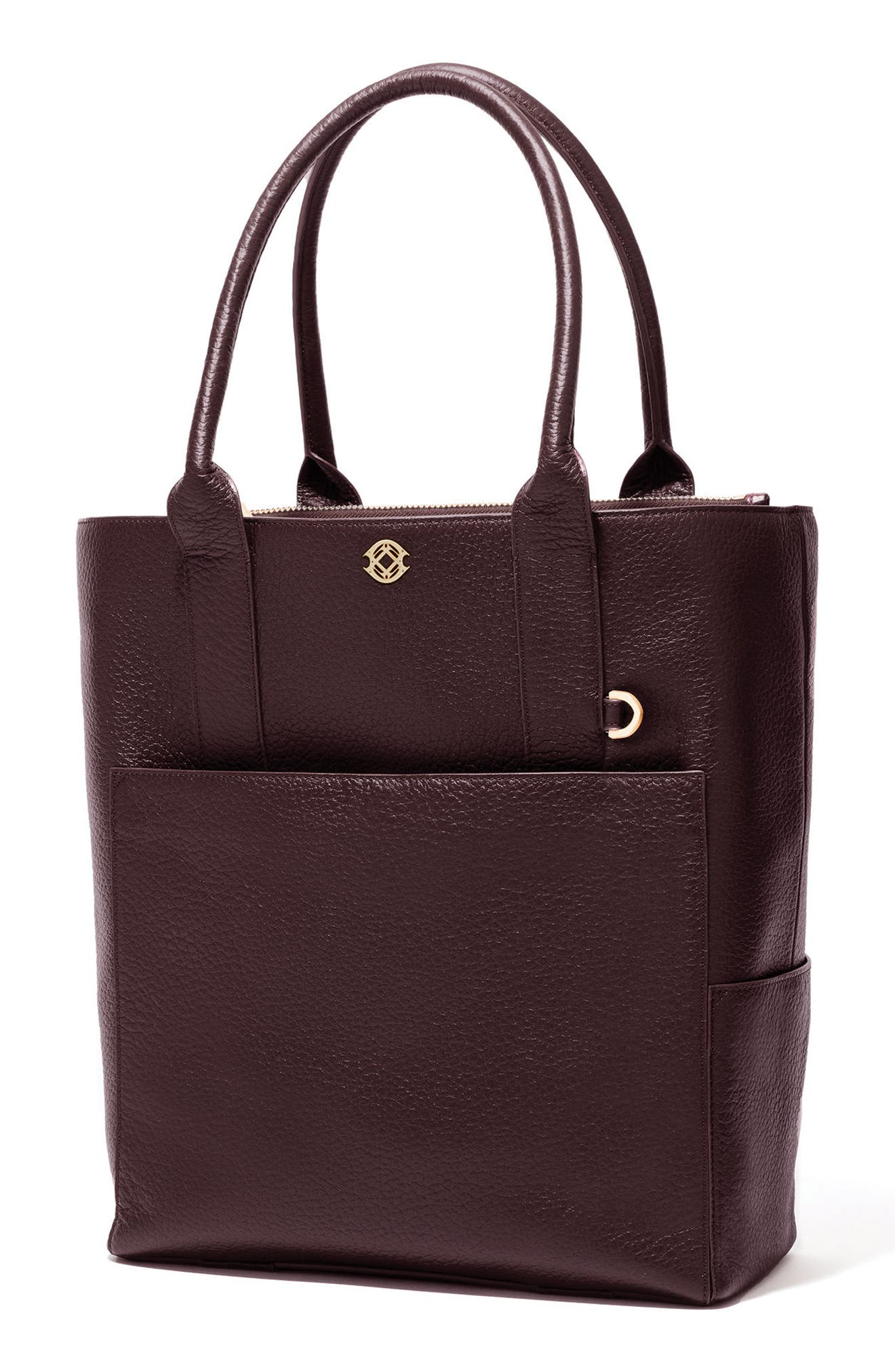 Charlie Leather Tote,                             Alternate thumbnail 5, color,                             Oxblood
