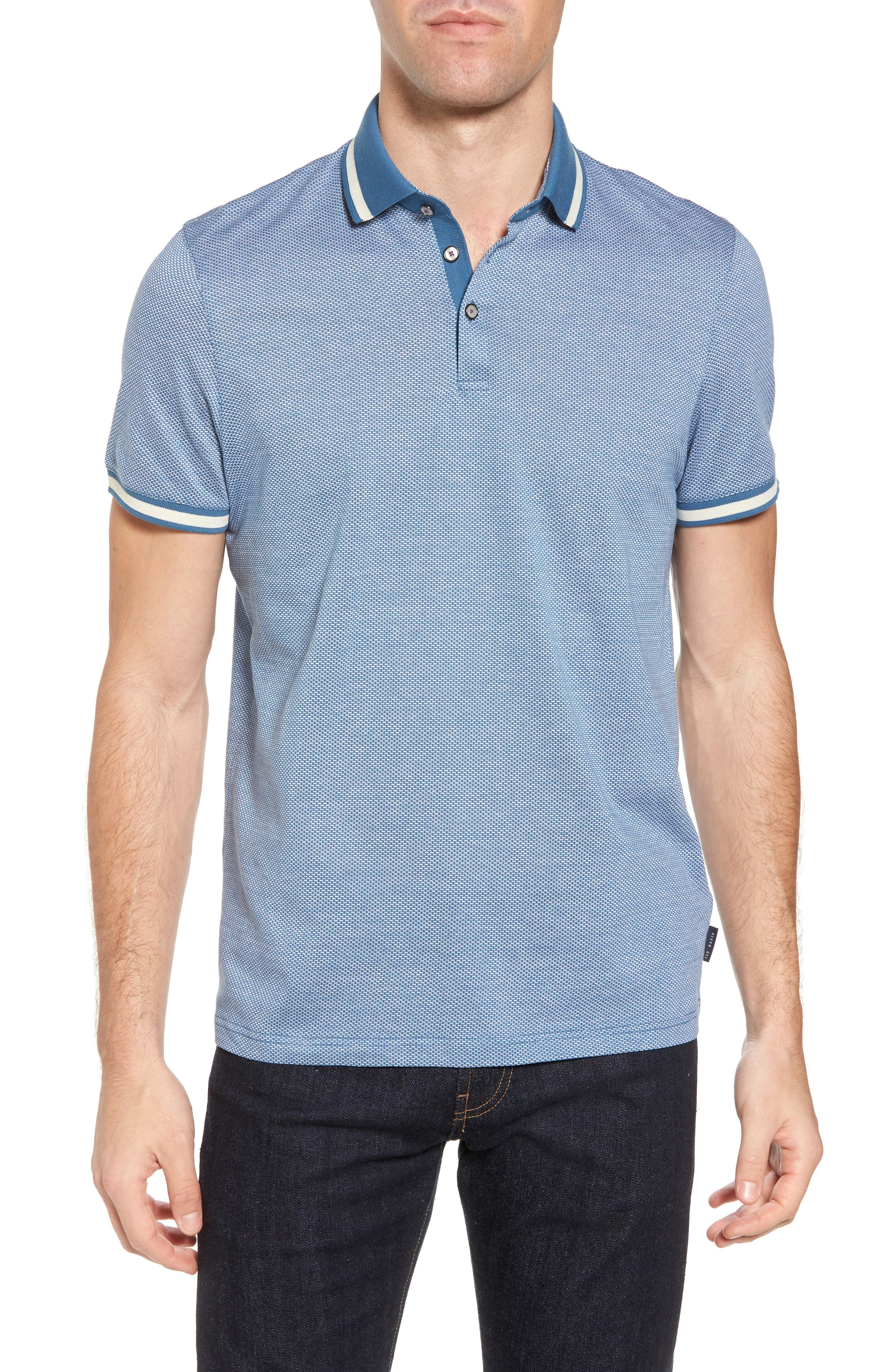 Poodal Stripe Jersey Polo,                             Main thumbnail 1, color,                             Mid Blue