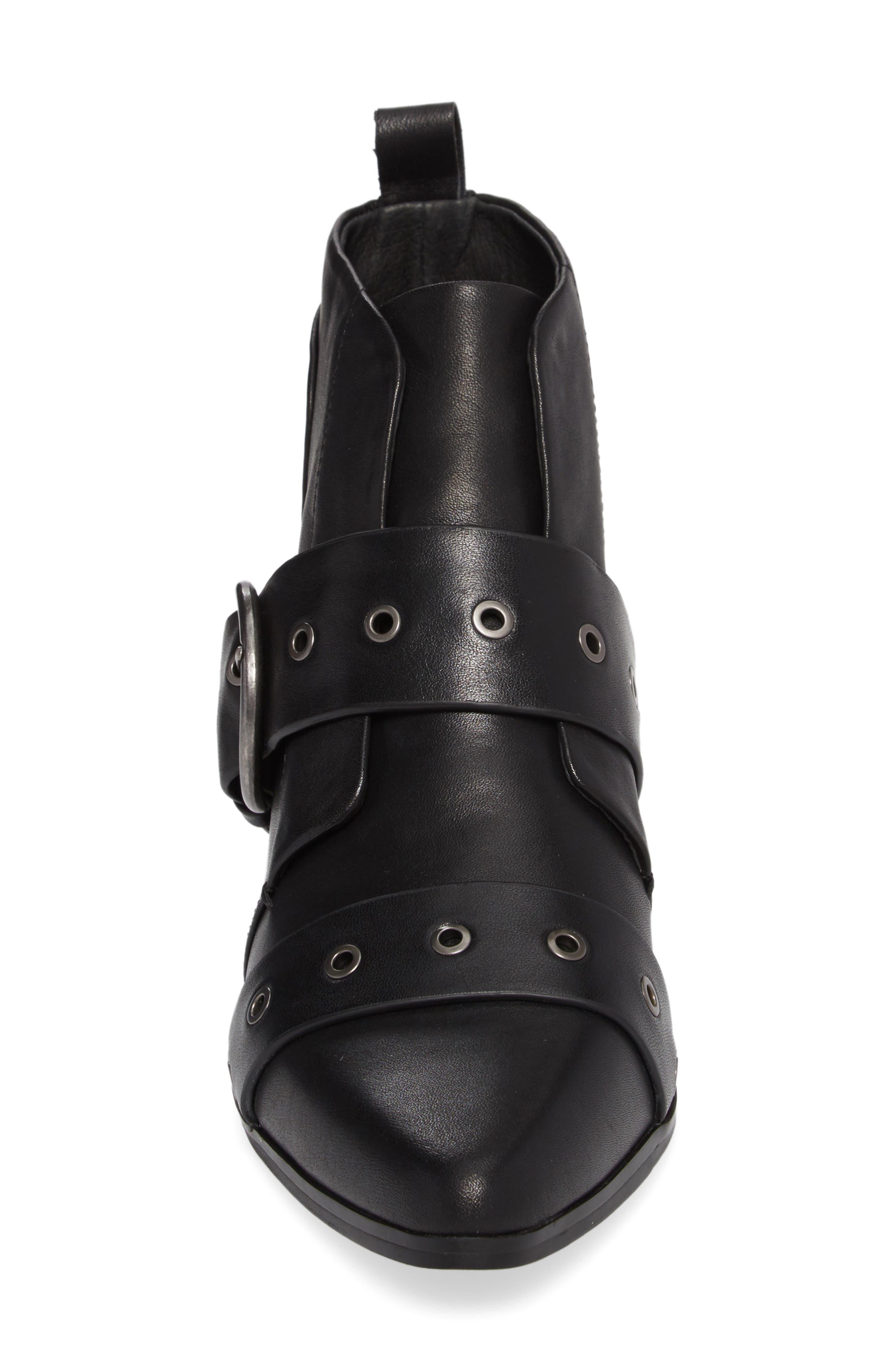 Buckle Strap Bootie,                             Alternate thumbnail 4, color,                             Black Leather